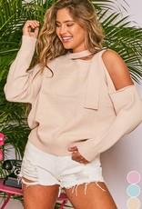 Shoulder buckle sweater