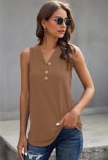 V neck 3 button tank