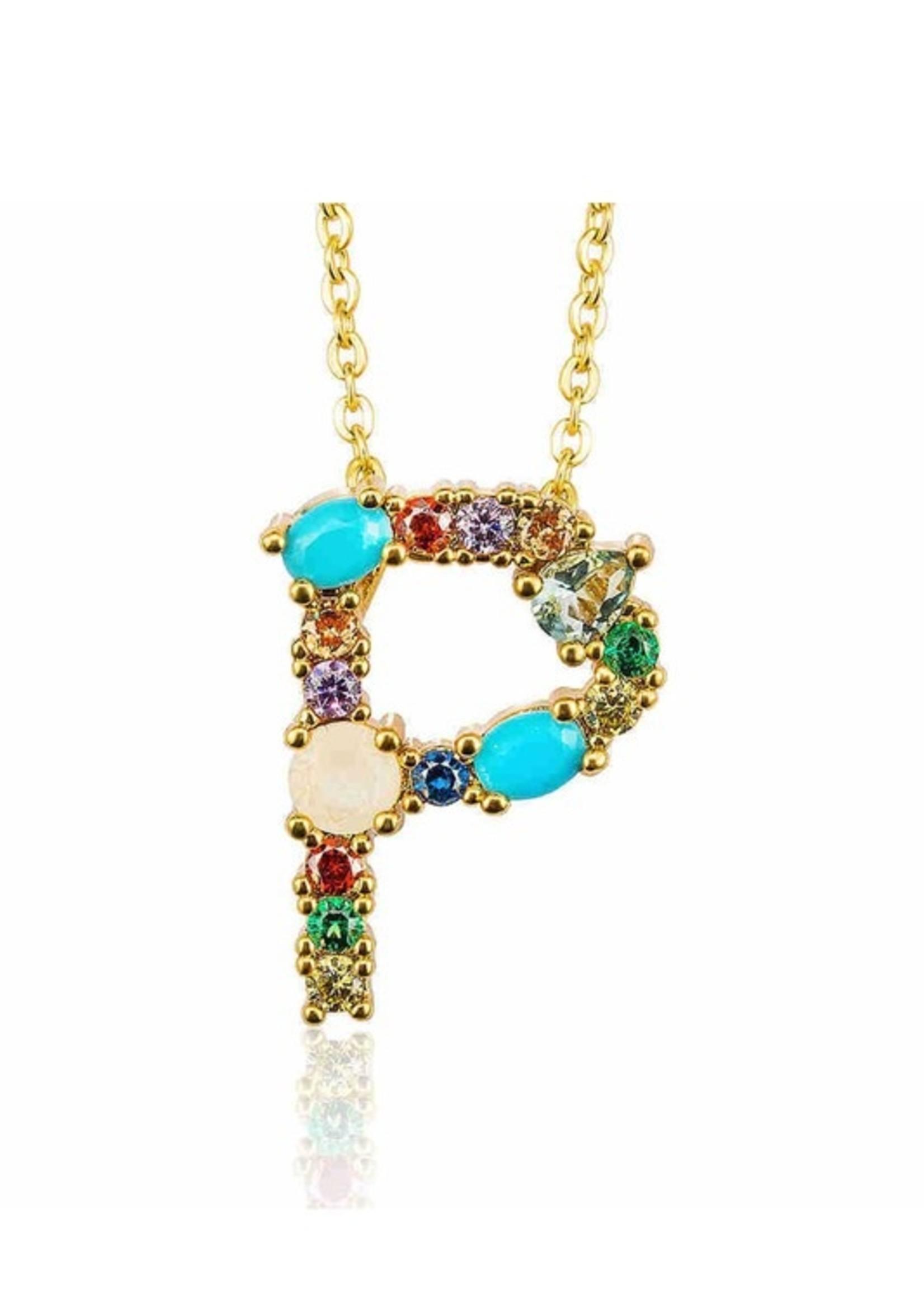 Rhinetone initial necklace