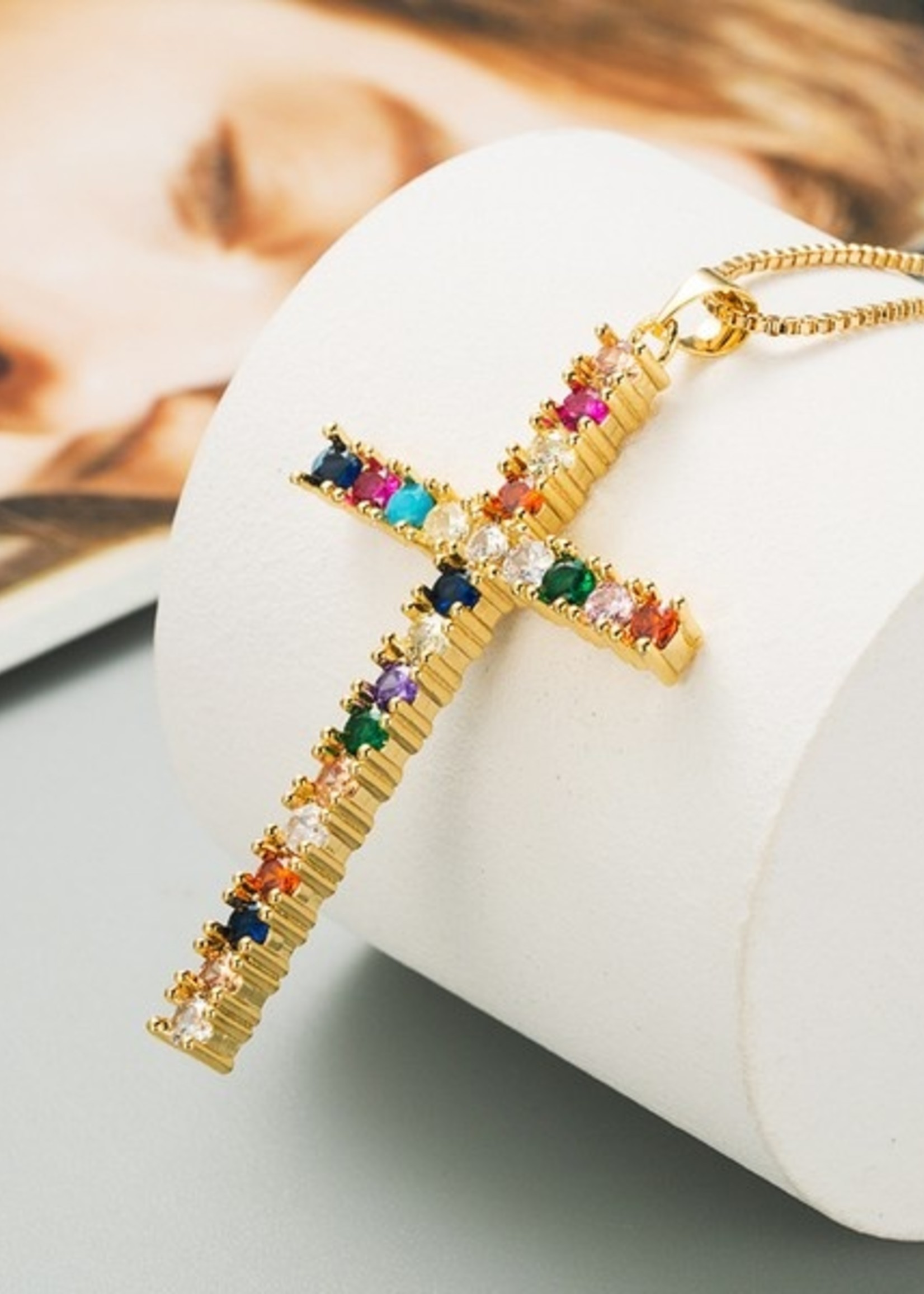 Multicolor rhinestone cross