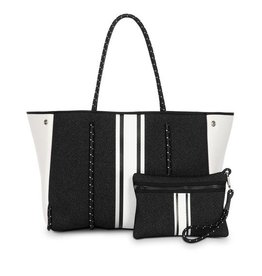 Black tote with wht/silver