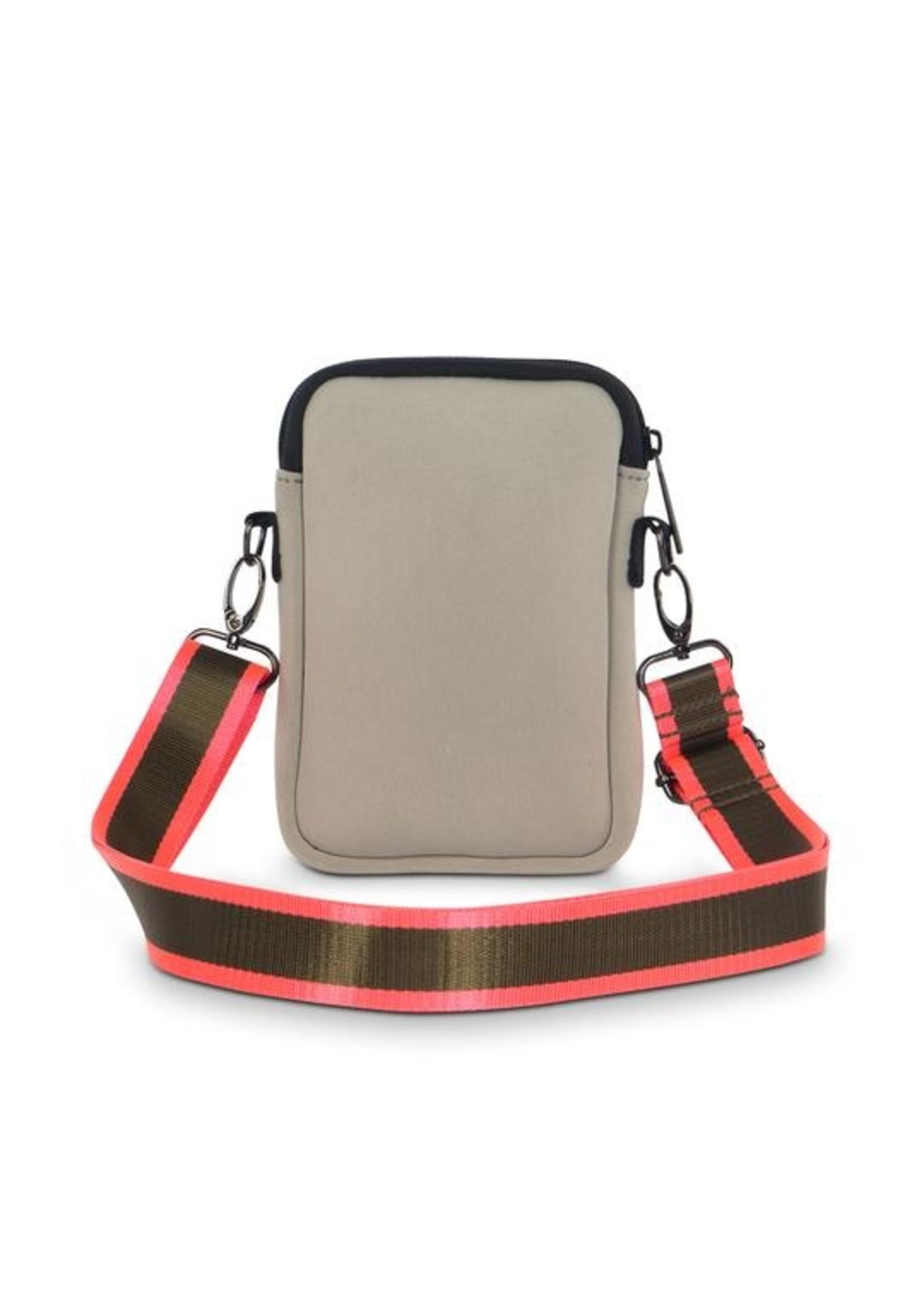 Green/pink stripe phone bag