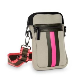 Green /pink stripe phone bag