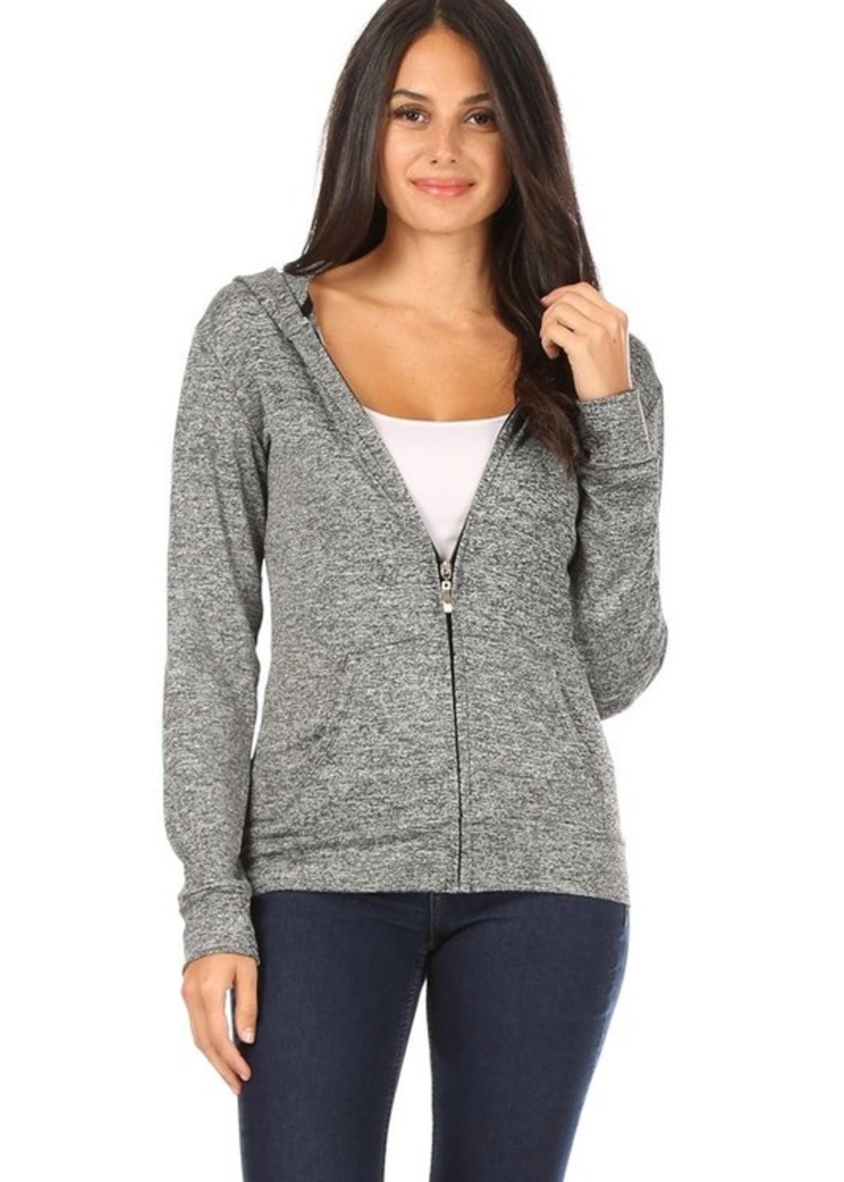 Heathered zip hoodie 4001