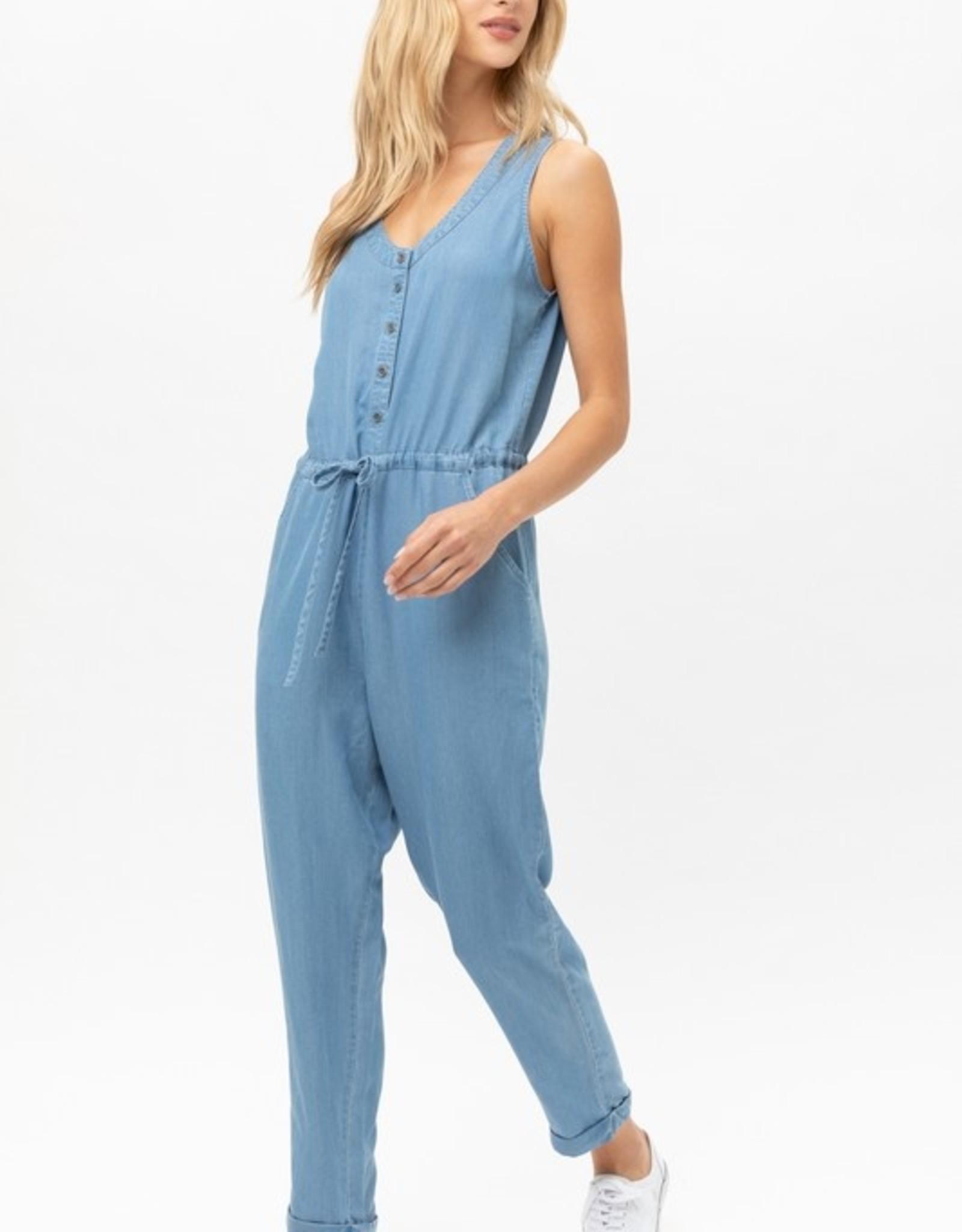 Tencel drawstring jumpsuit