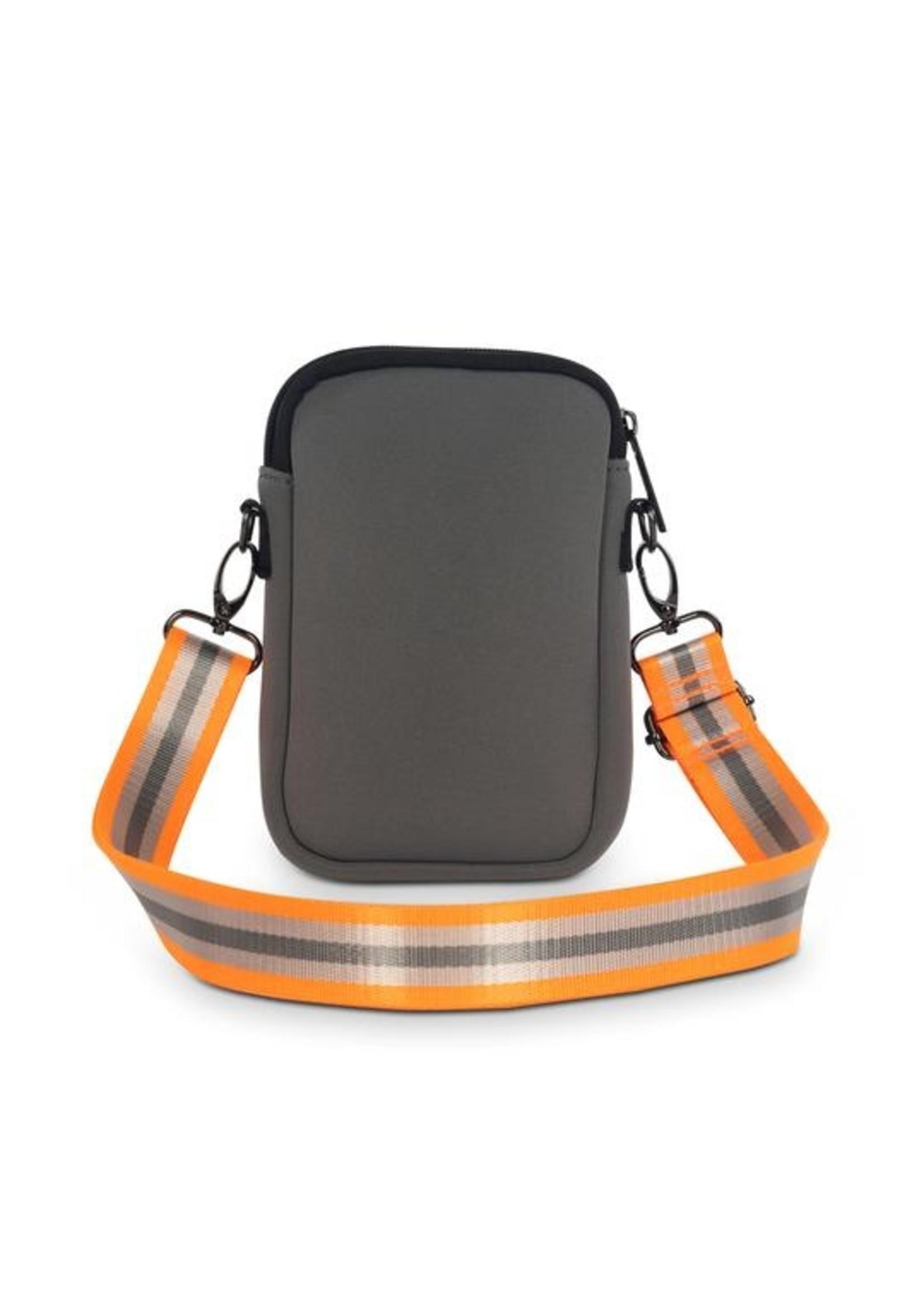 Orange and silver stripe phone bag
