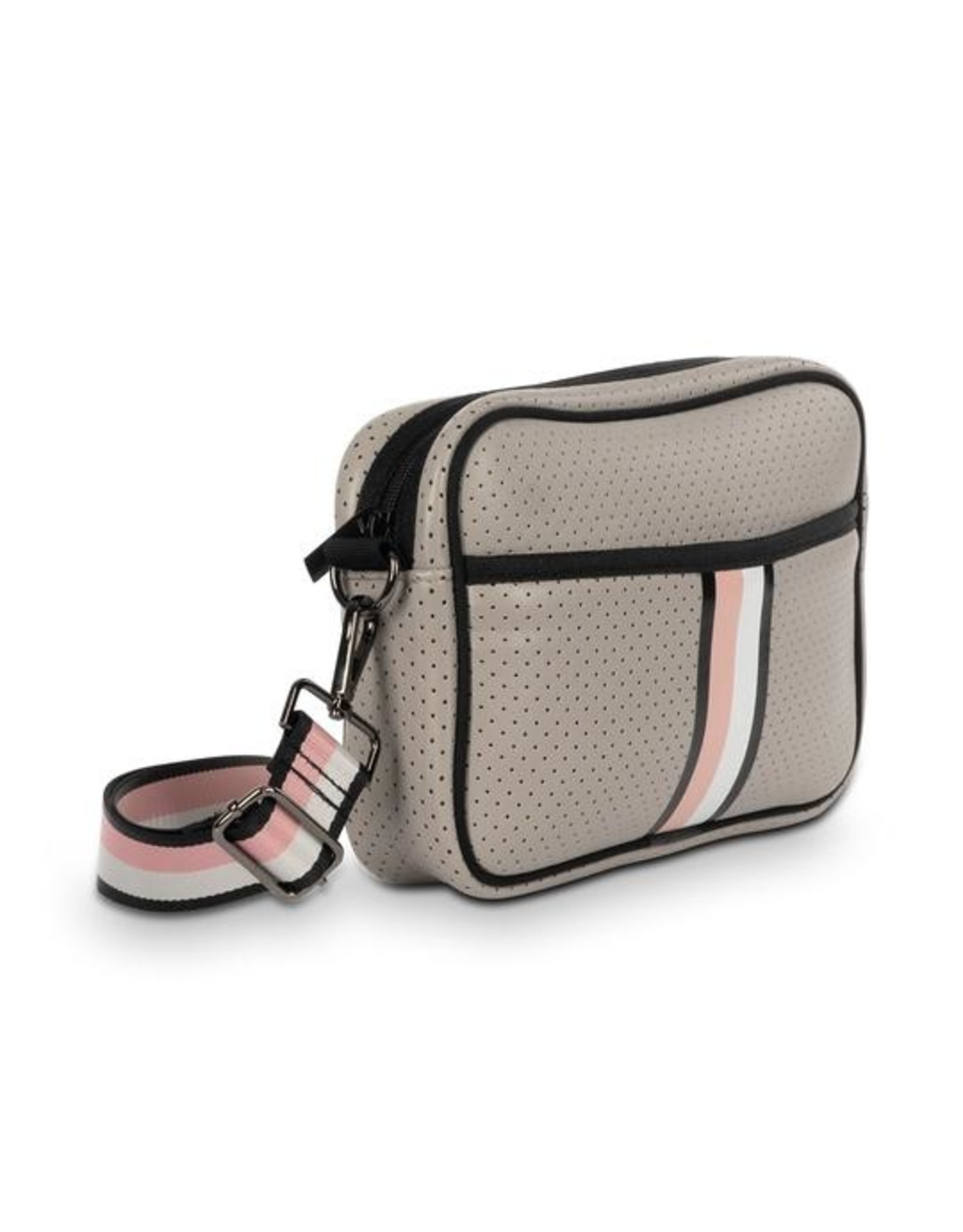 Beige with pink and white crossbody