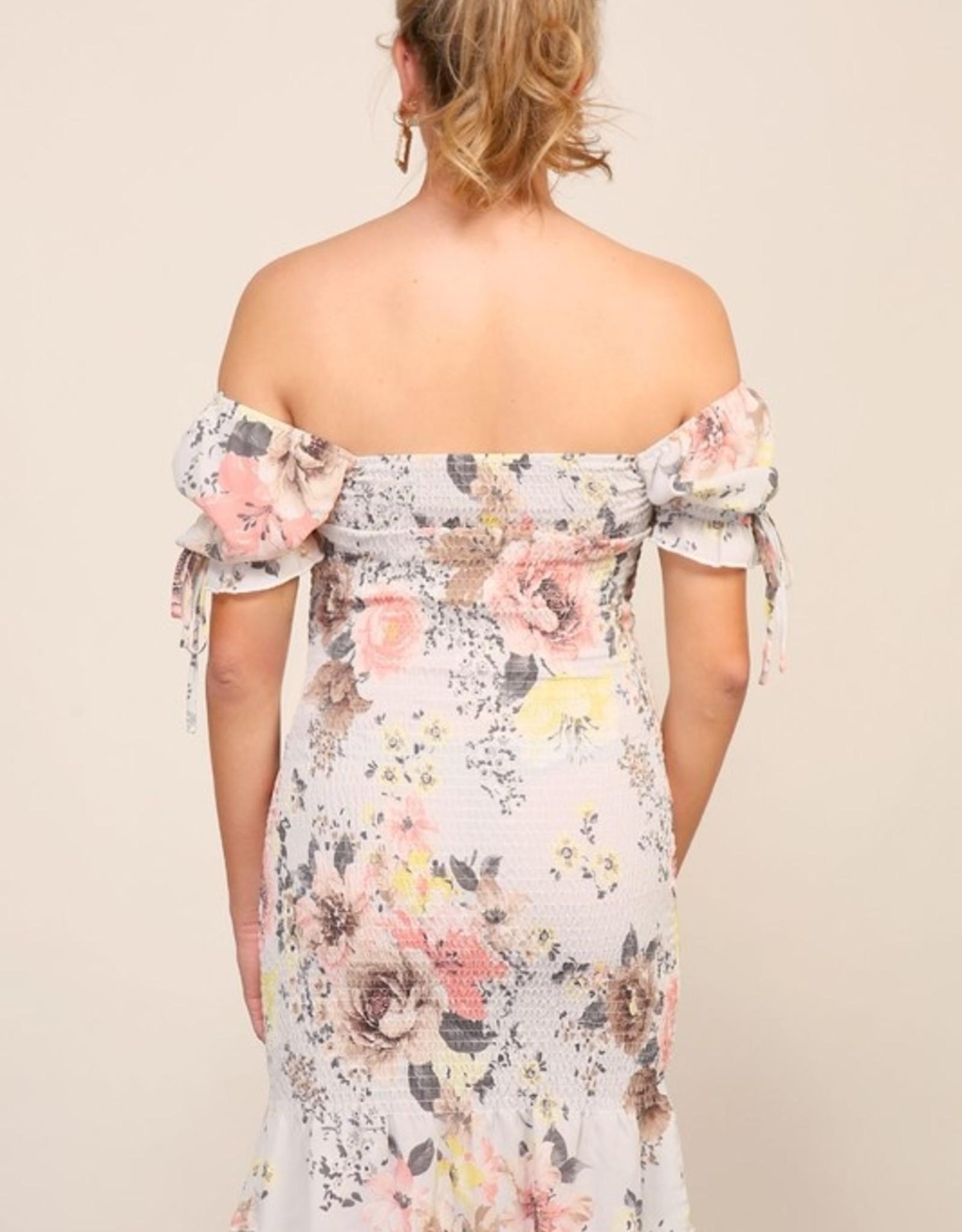 Floral print smocked dress