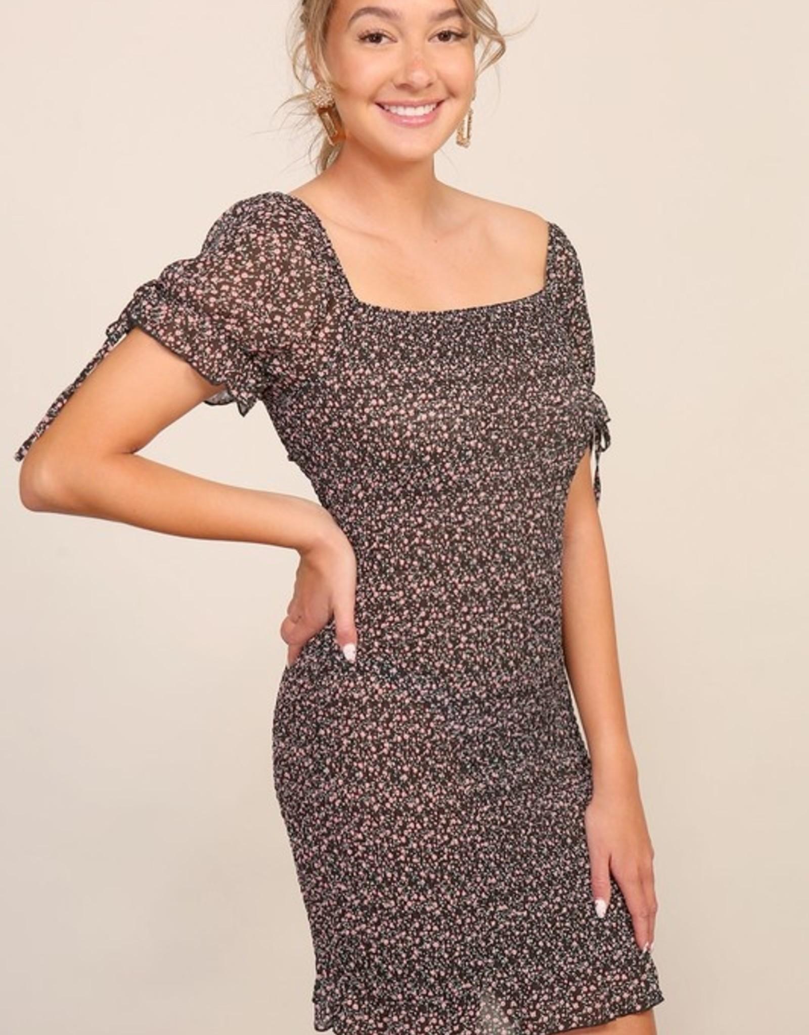 Smocked print dress