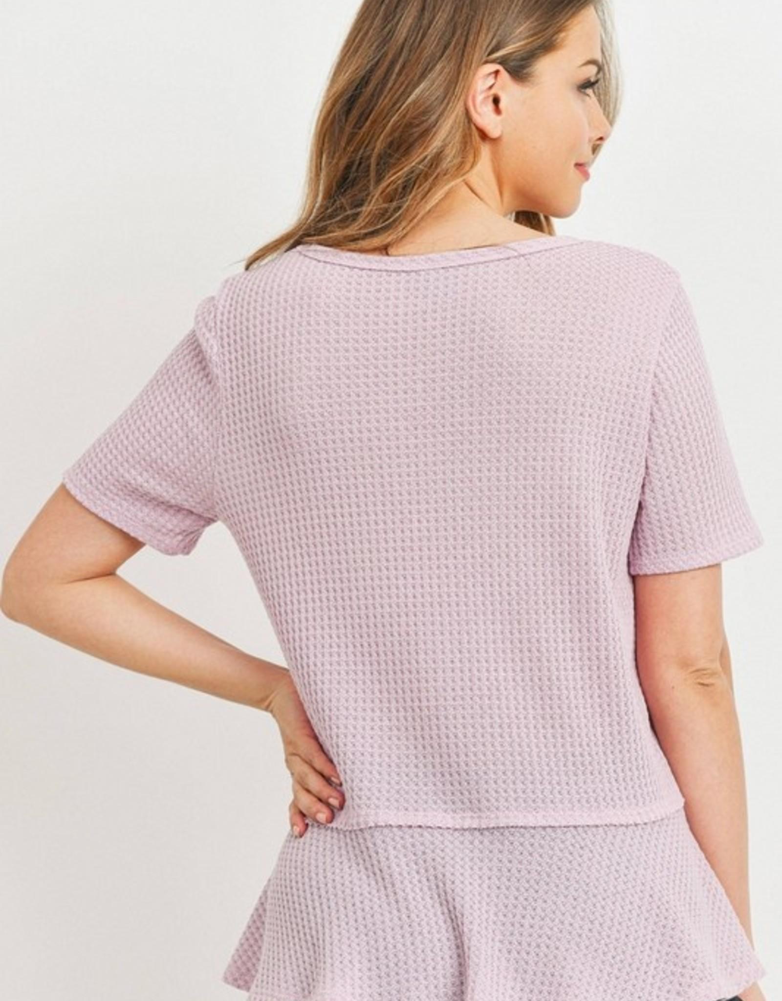 Thermal short sleeve peplum top