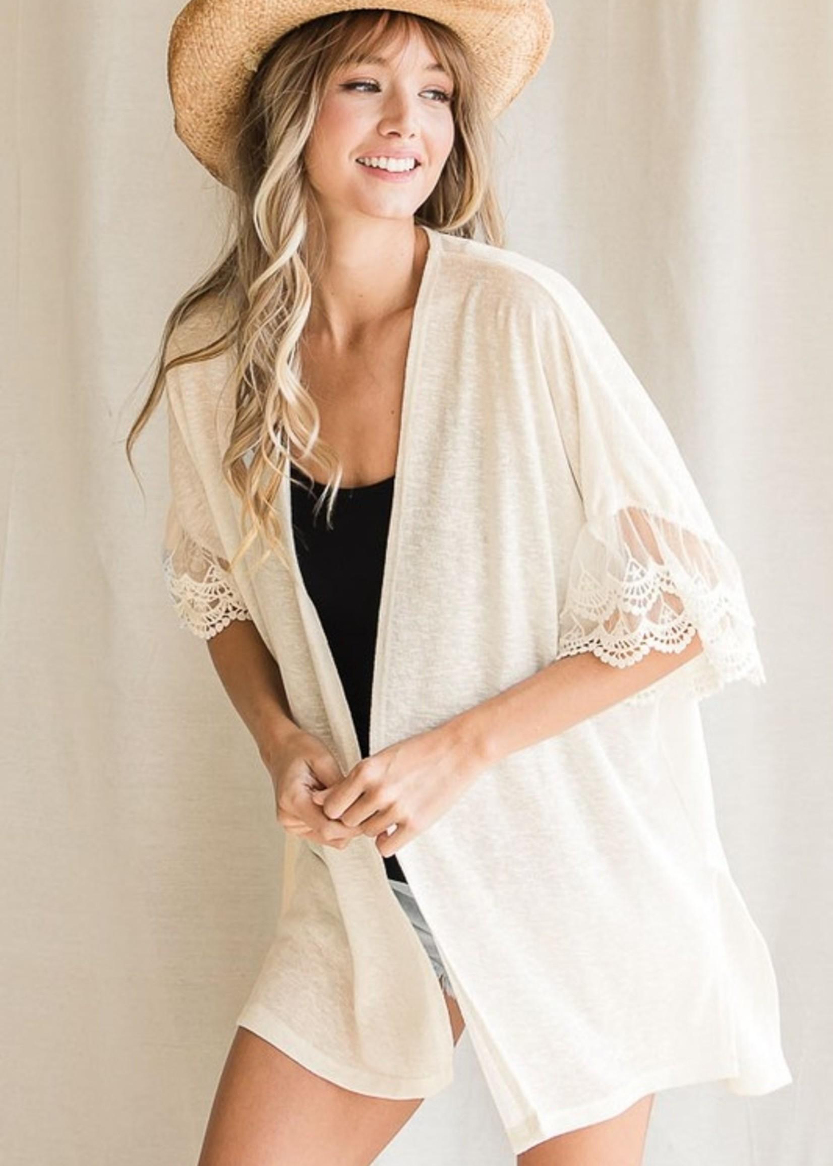 Lace sleeve open cardigan