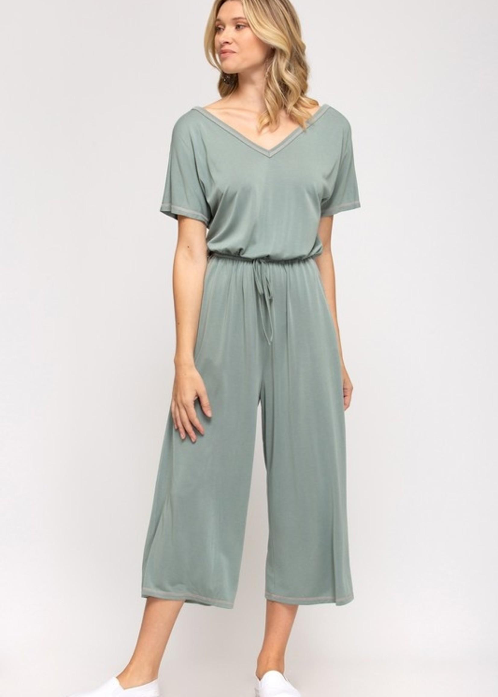 Contrast stitch jumpsuit