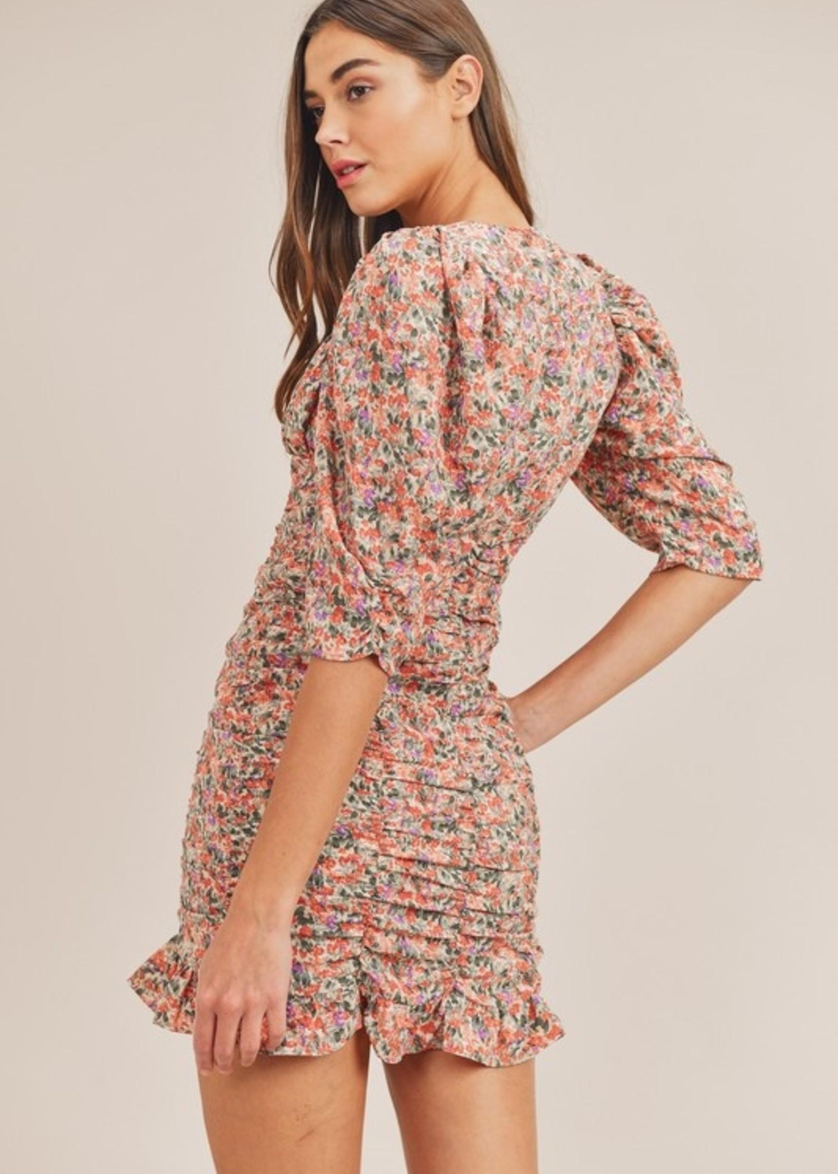 Print ruched dress