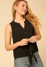 Button down tie front blouse
