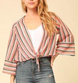 Stripe knit open cardigan