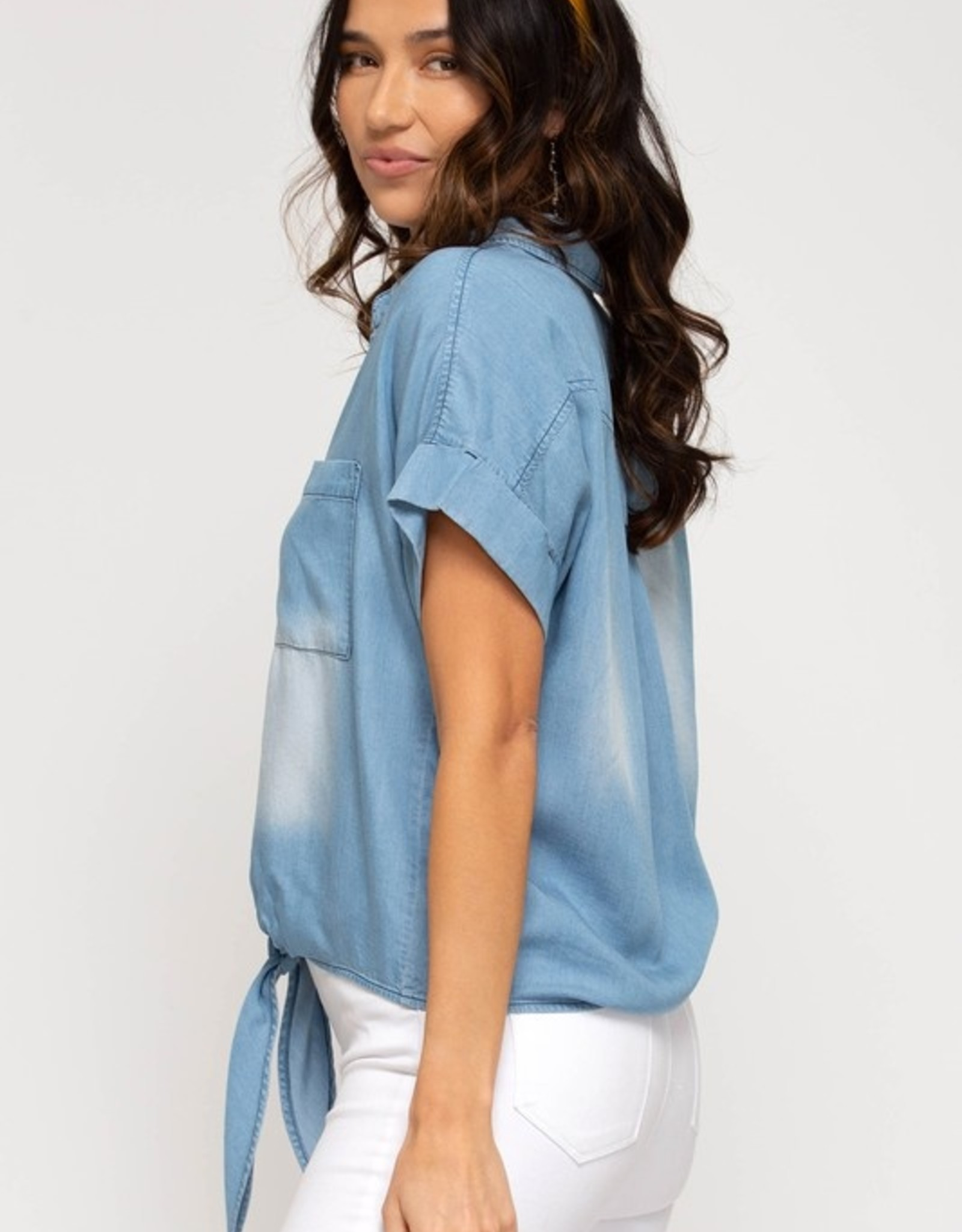 Chambray tie front