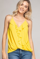 Ruffle crossover top