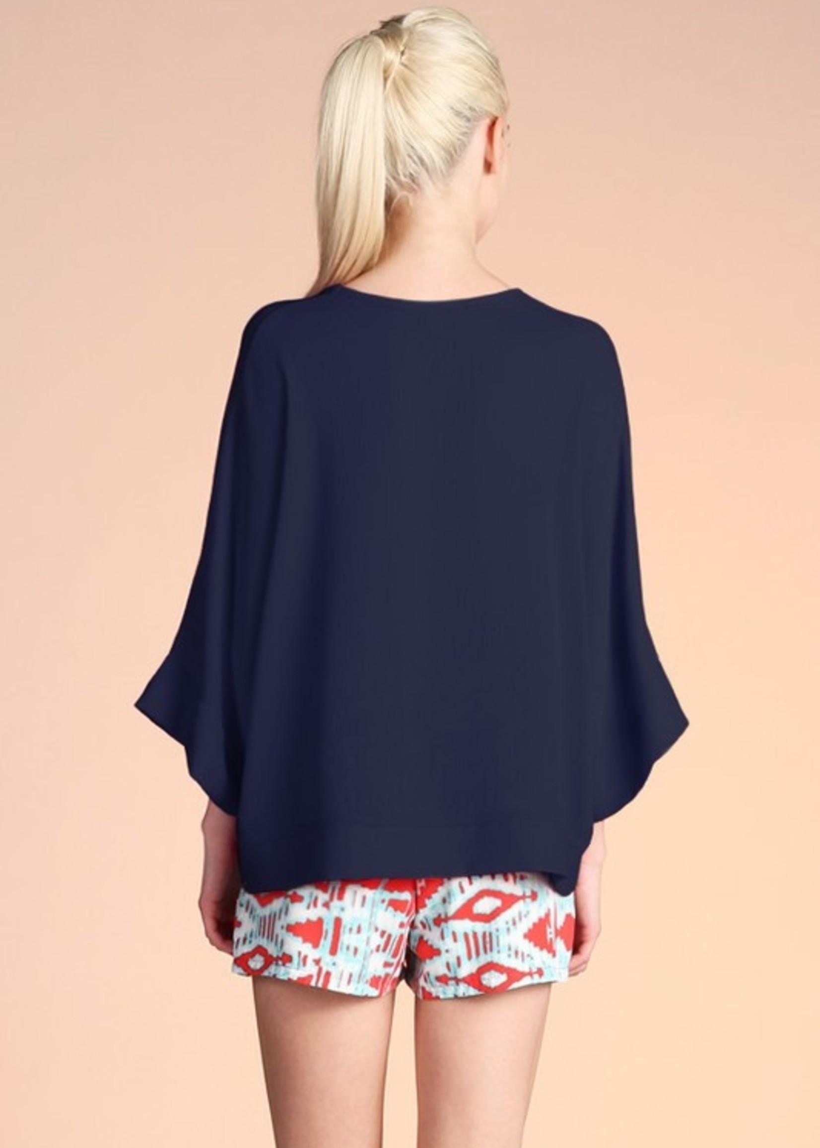 Banded V neck blouse