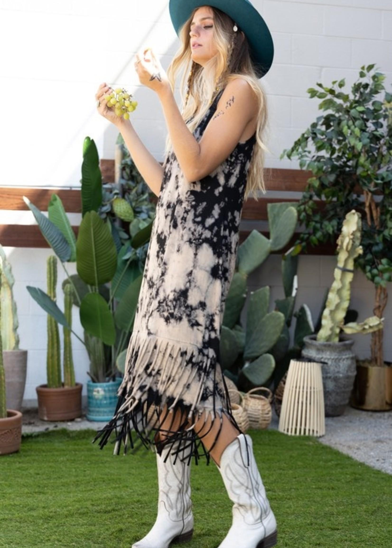 Fringe tie dye dress