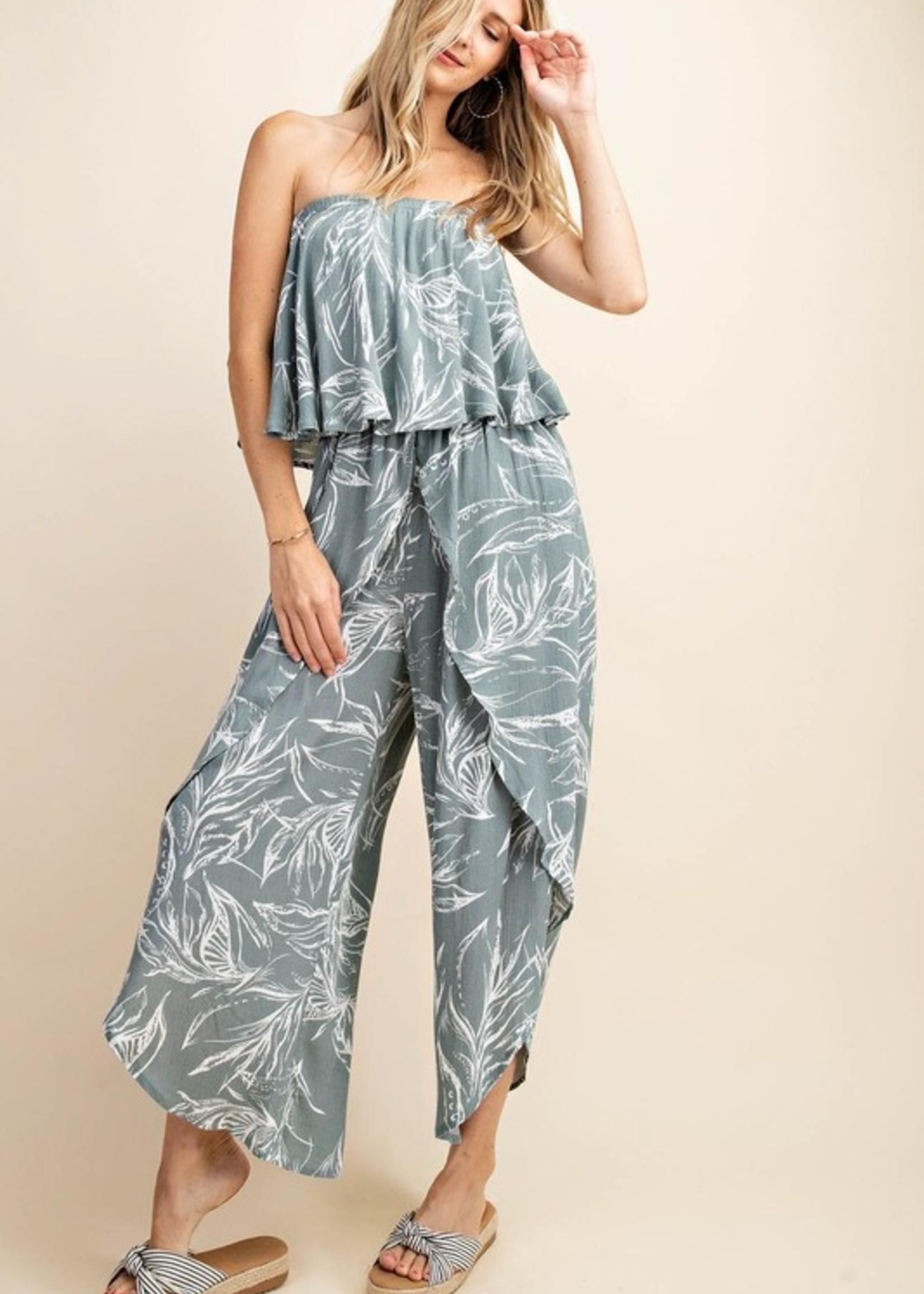 Print wrap jumpsuit