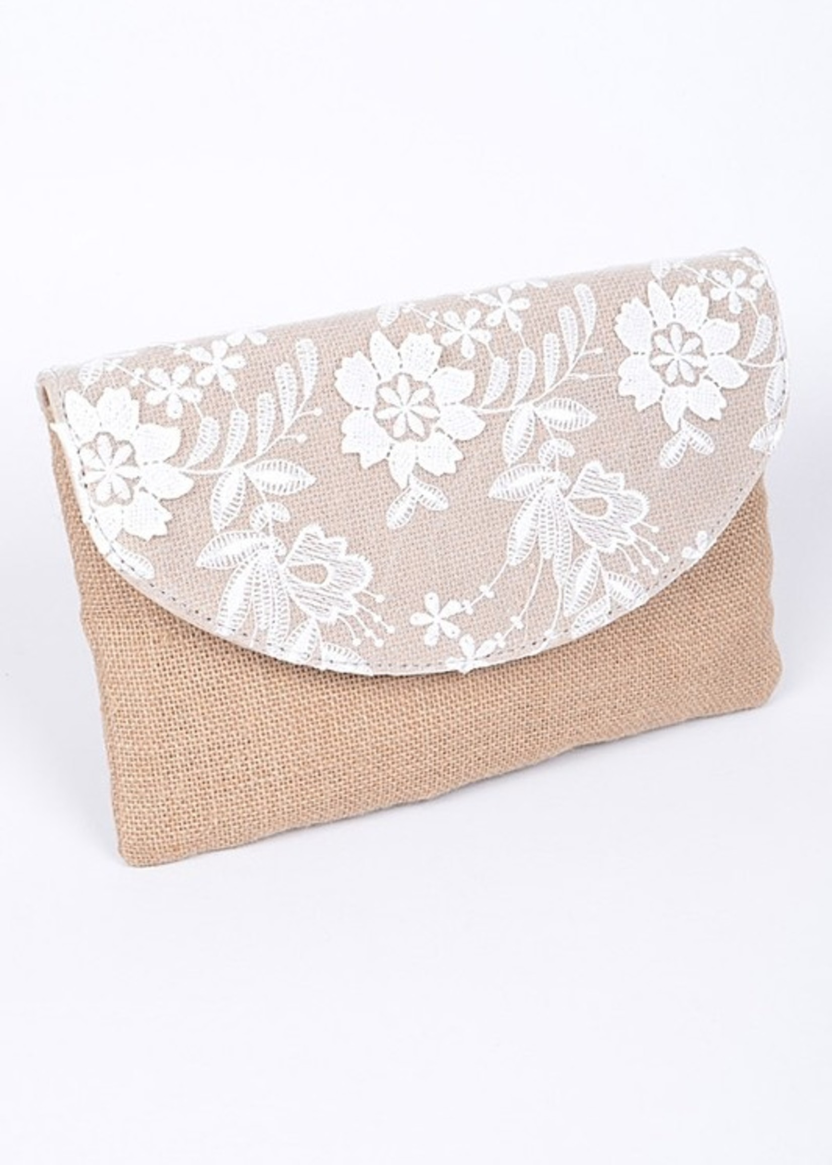 Straw floral clutch