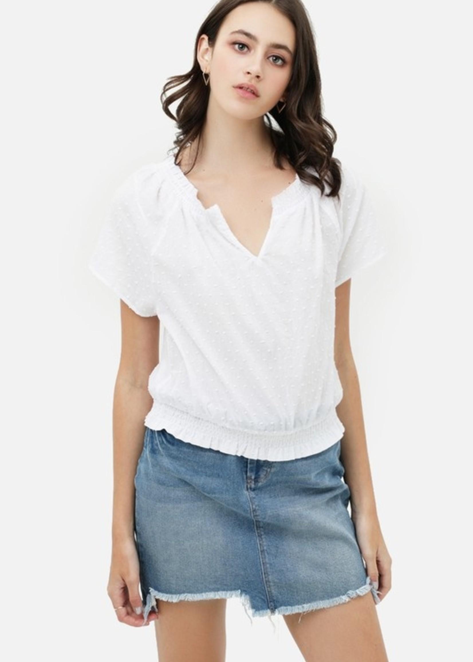 Split V elastic waist top