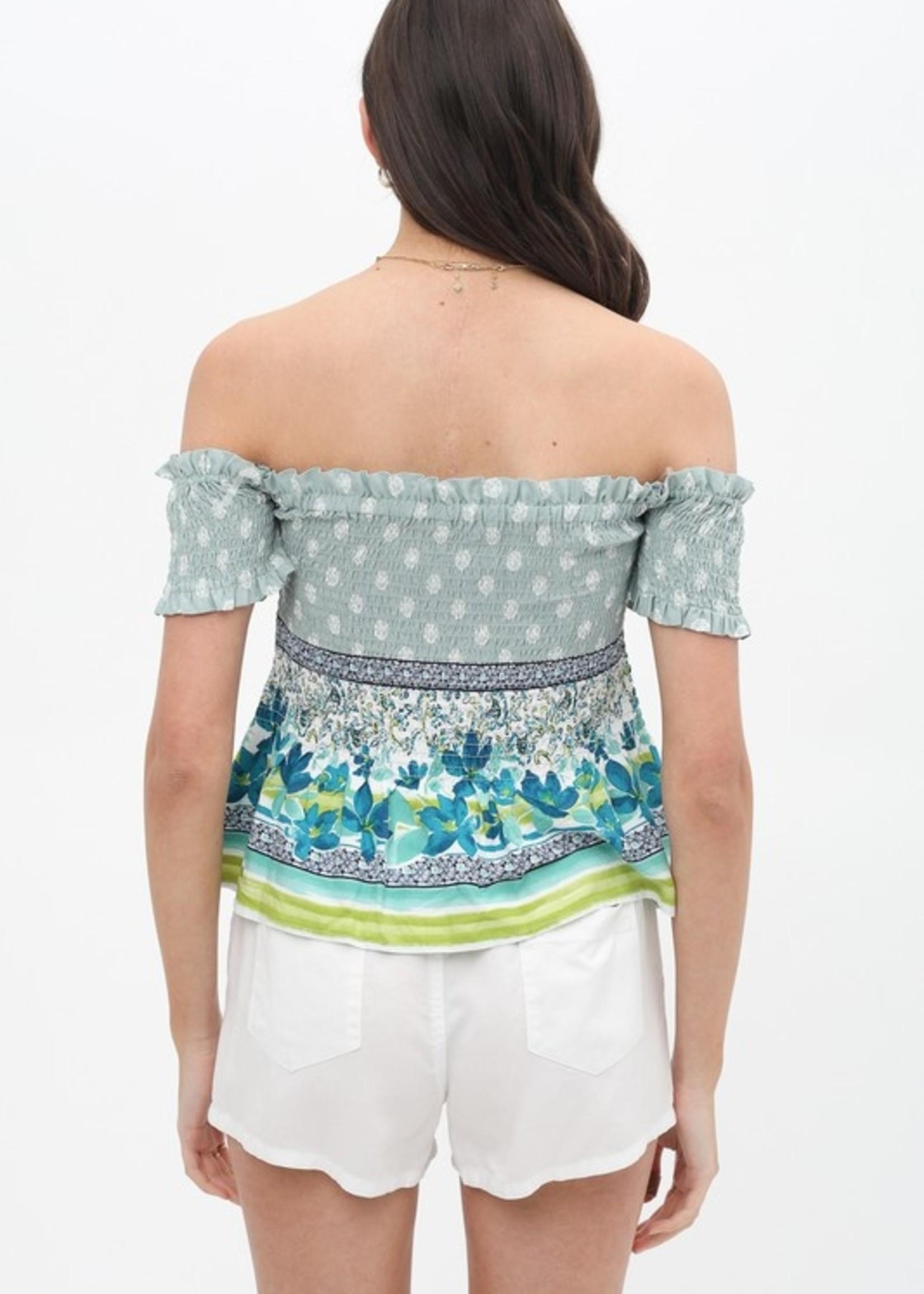 Mix print off shoulder