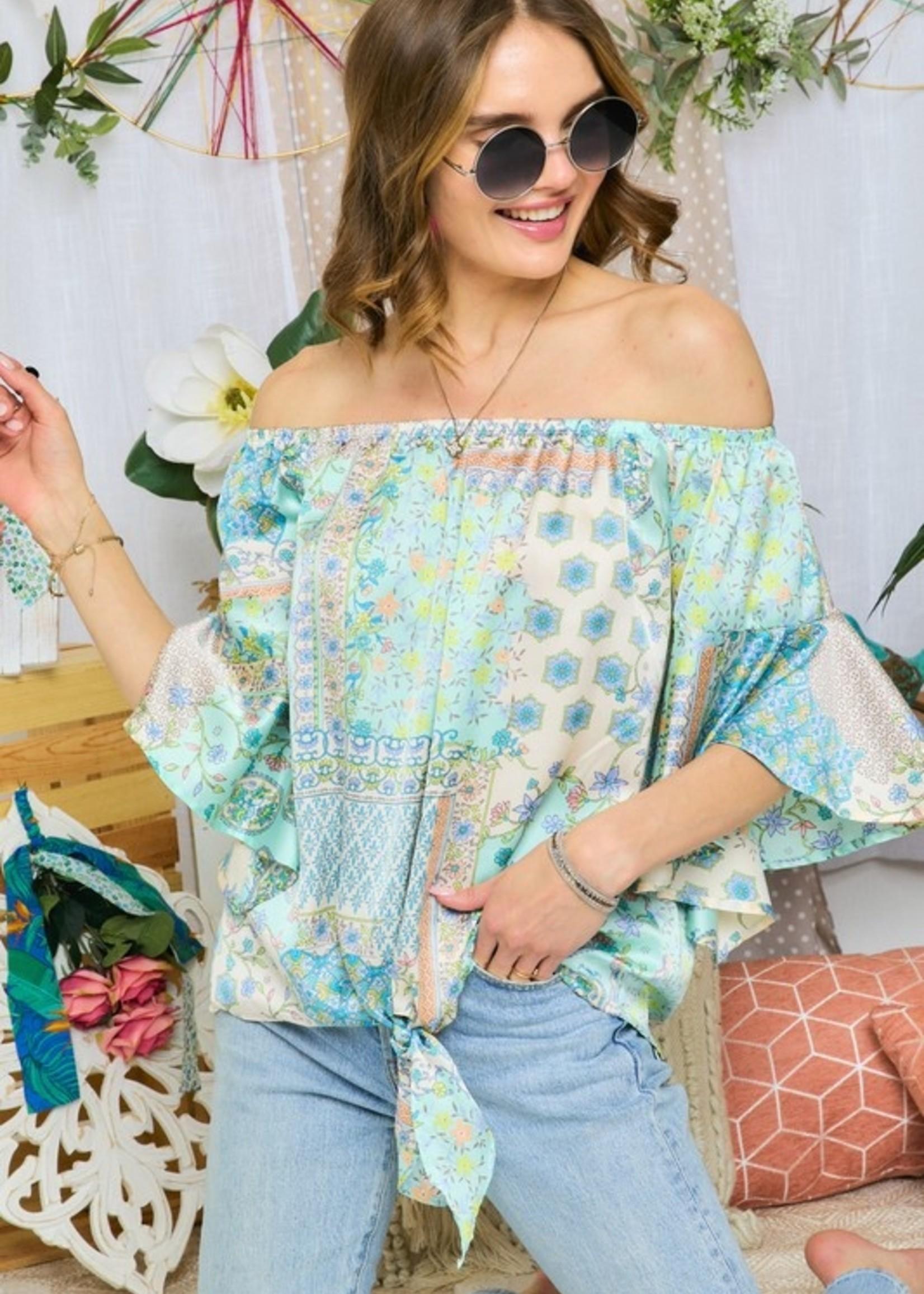 Satin print blouse
