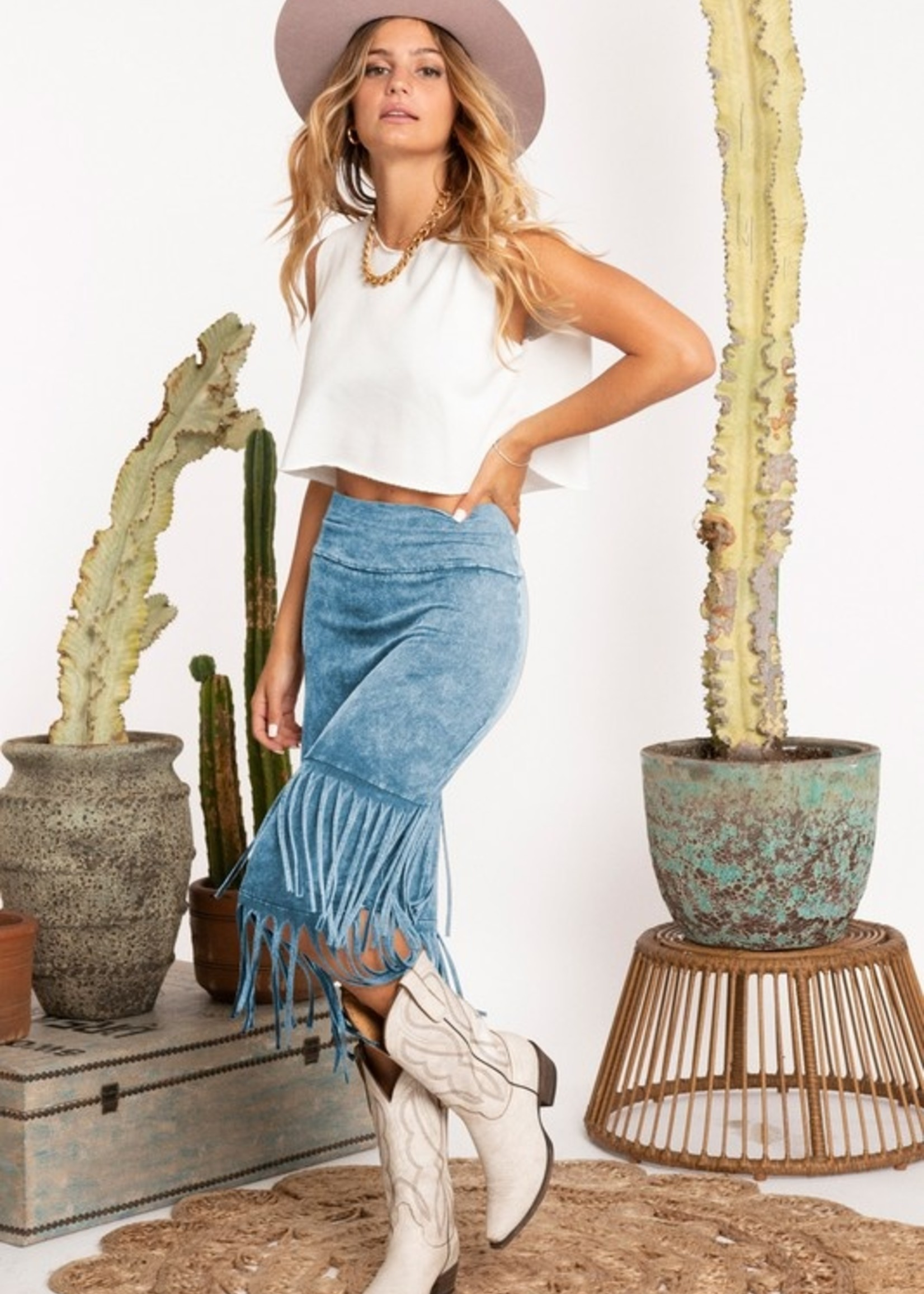 Mineral wash fringe skirt