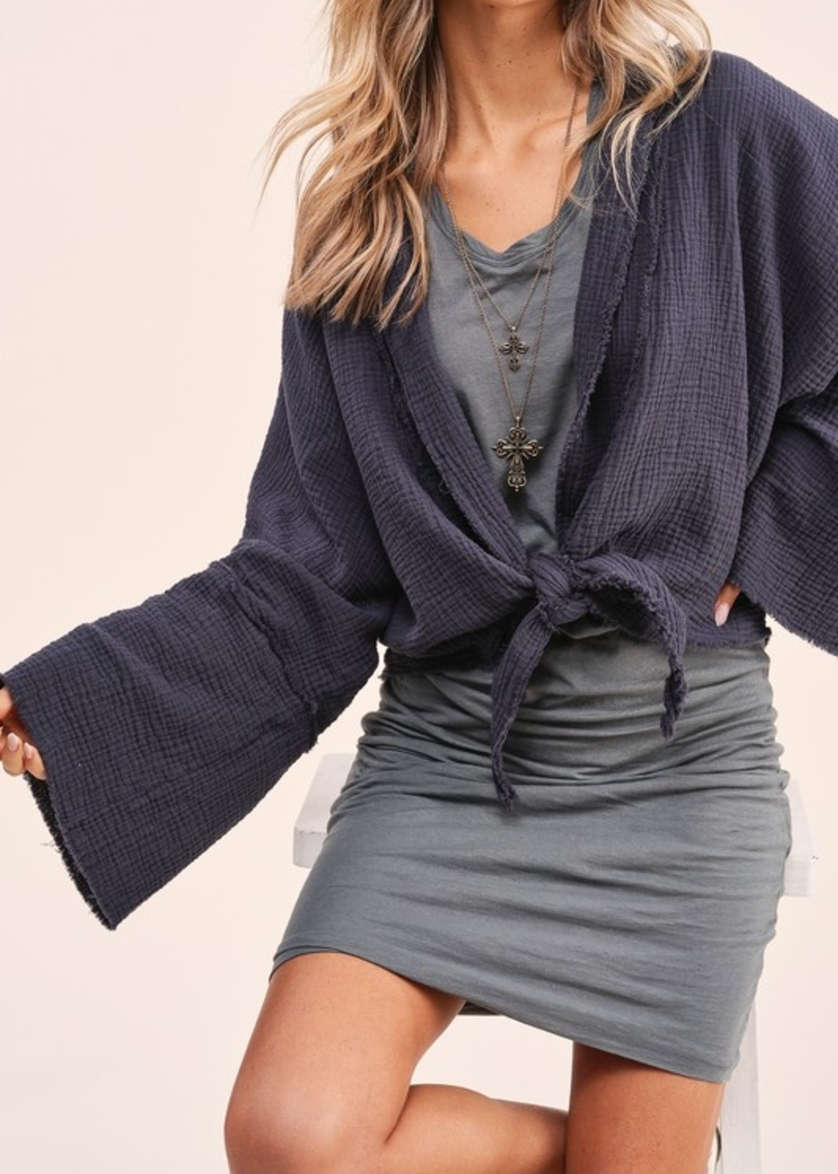 Wide sleeve open cardigan