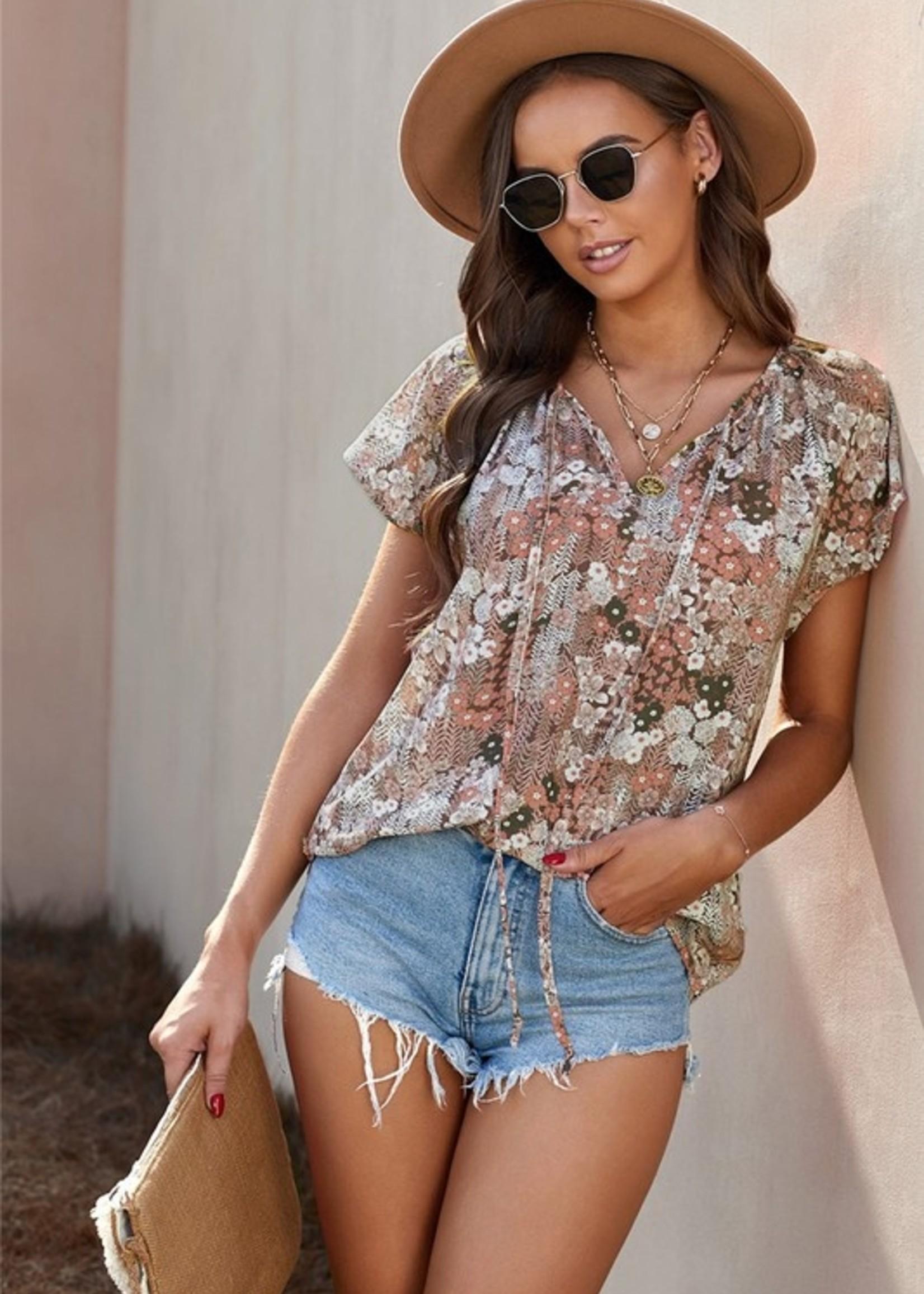 Print short sleeve blouse