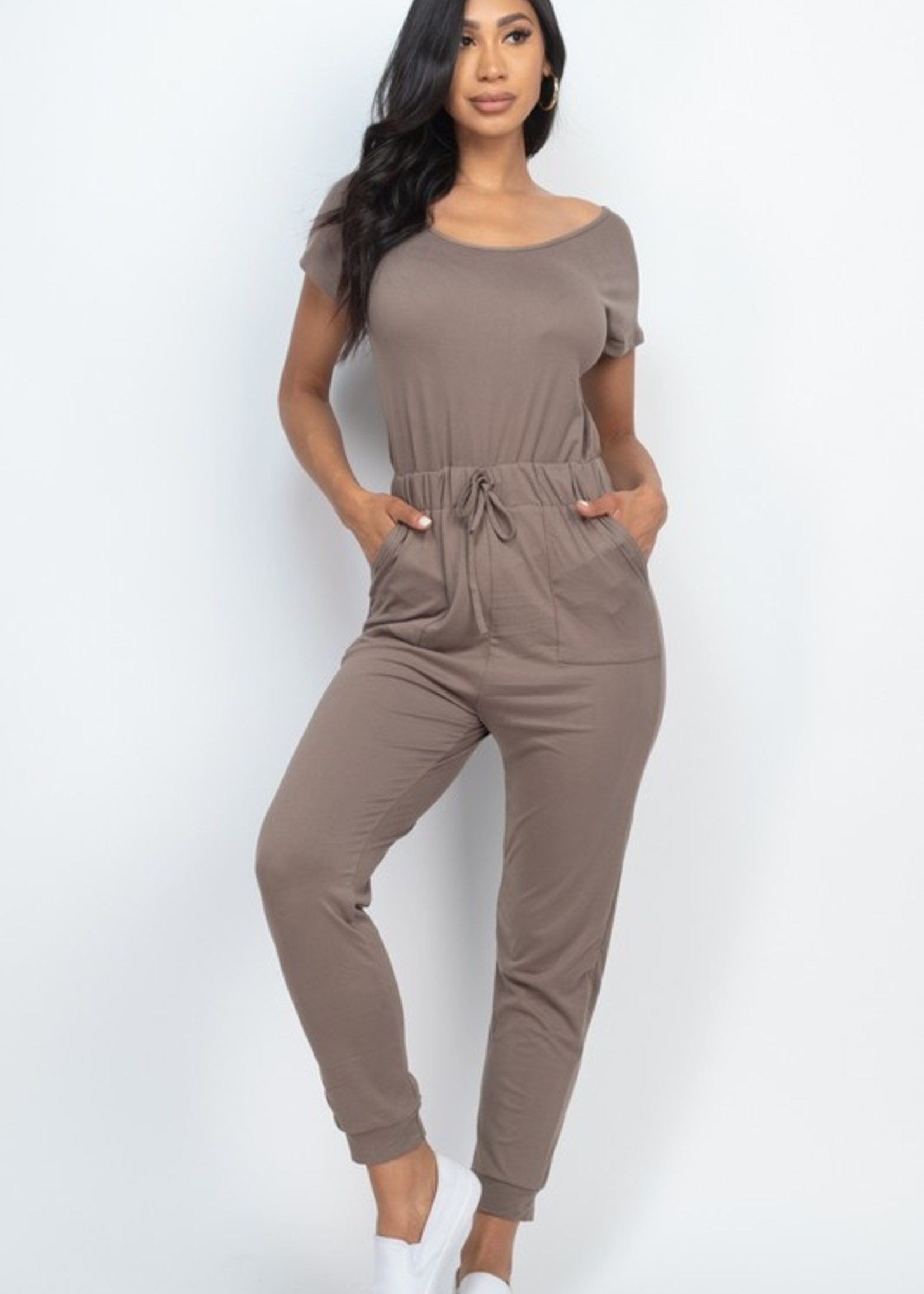 Short sleeve skinny jumpsuit