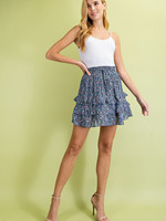Print ruffle skirt 2 colors