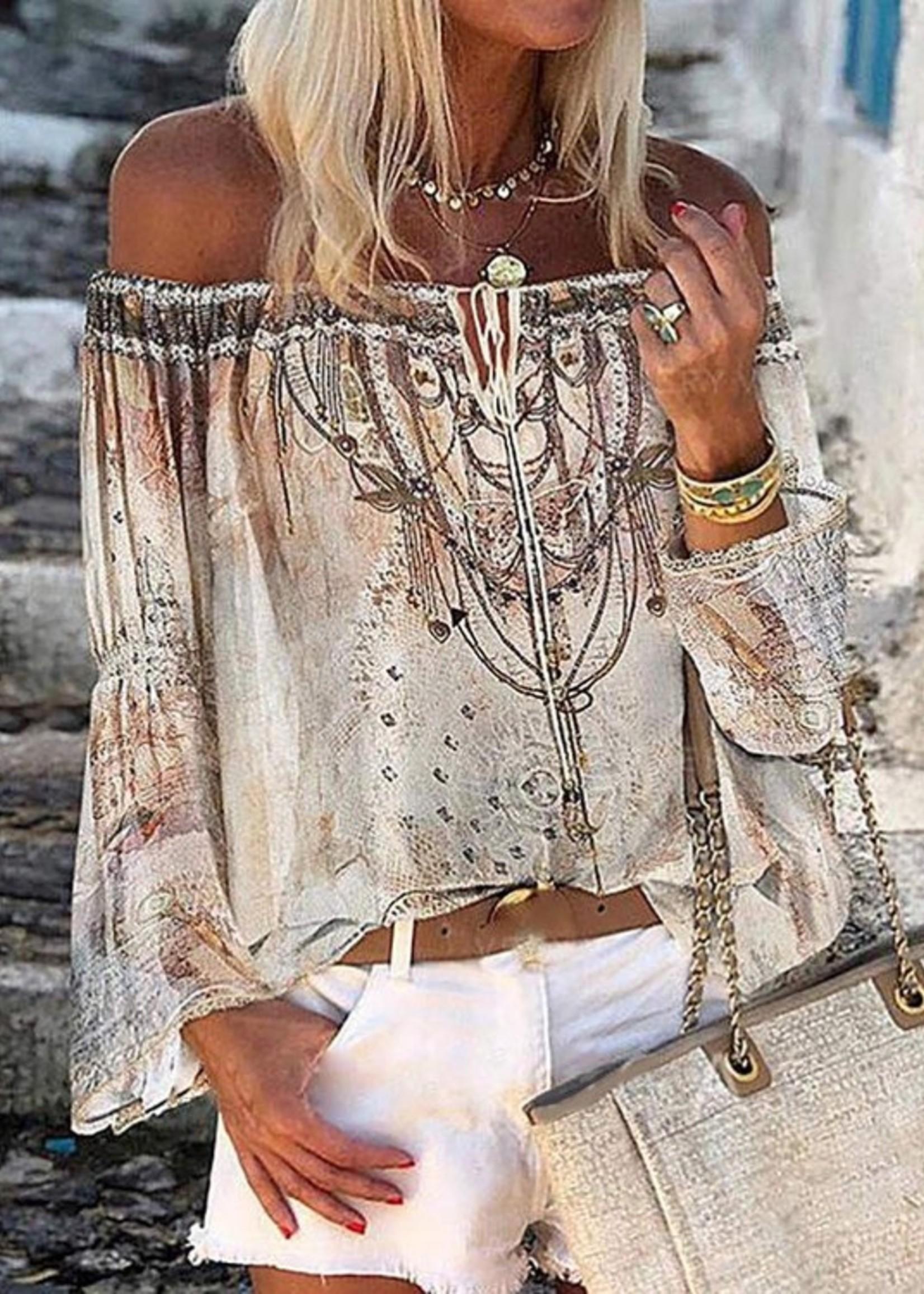 Off shoulder print blouse