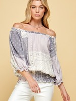 Patchwork band bottom blouse  2 colors