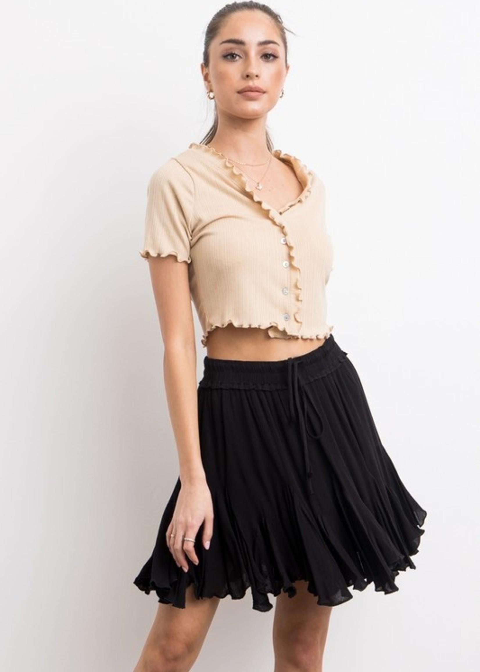 Crepe flare mini skirt 4 colors