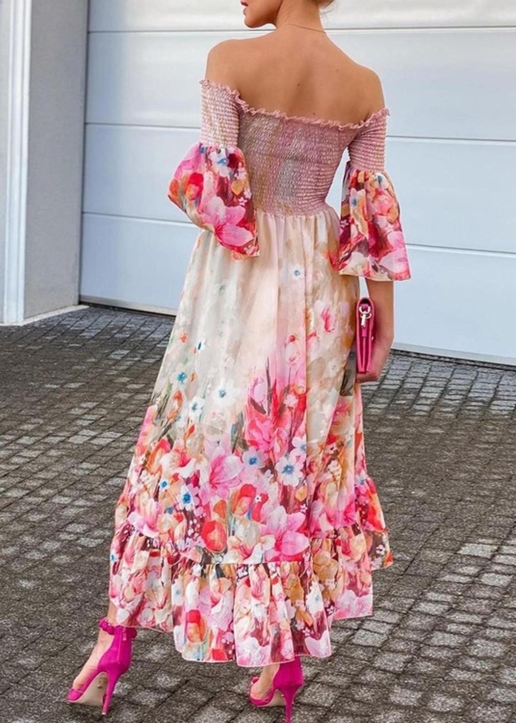 Print smocked maxi dress