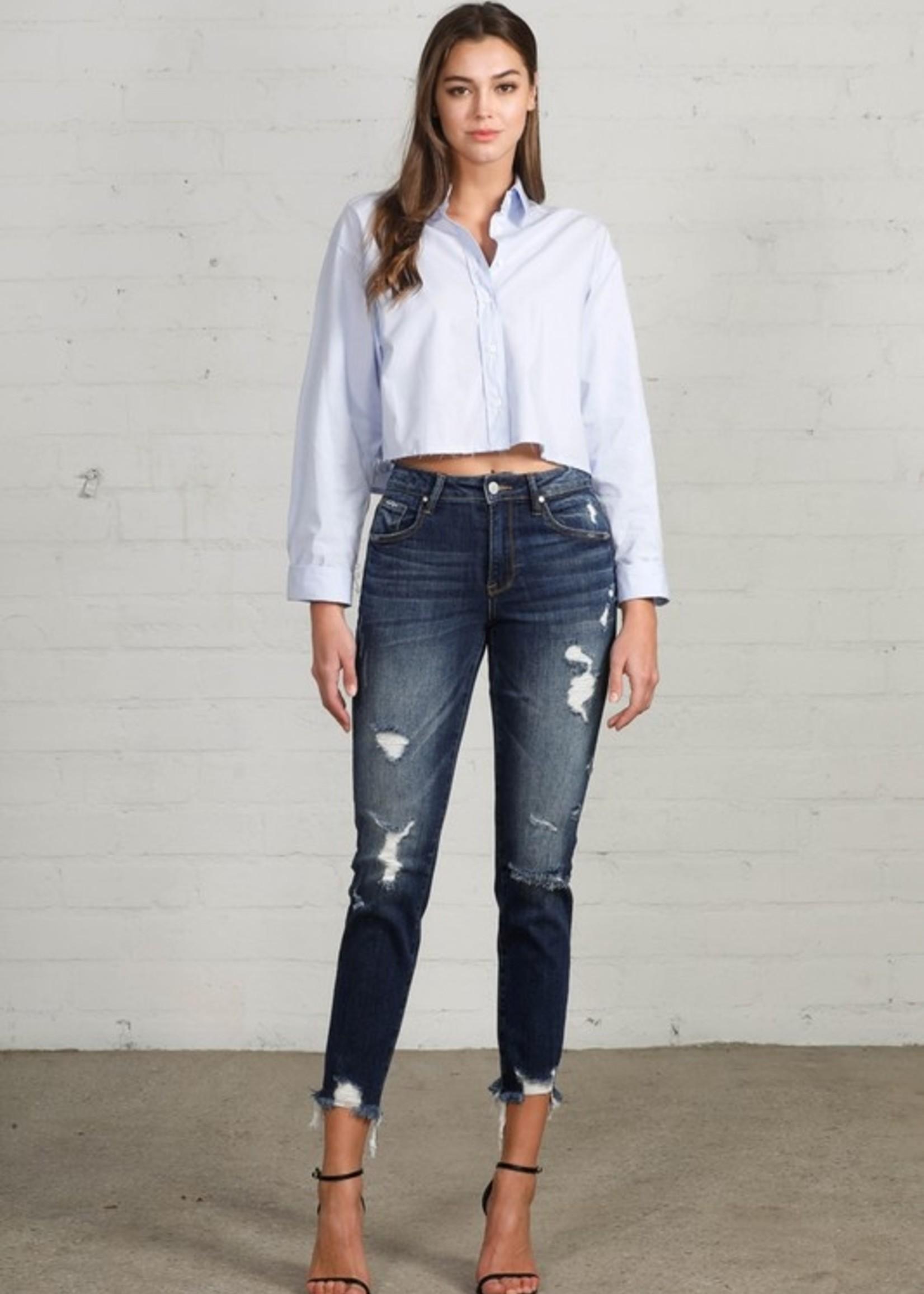 Girlfriend distressed jean