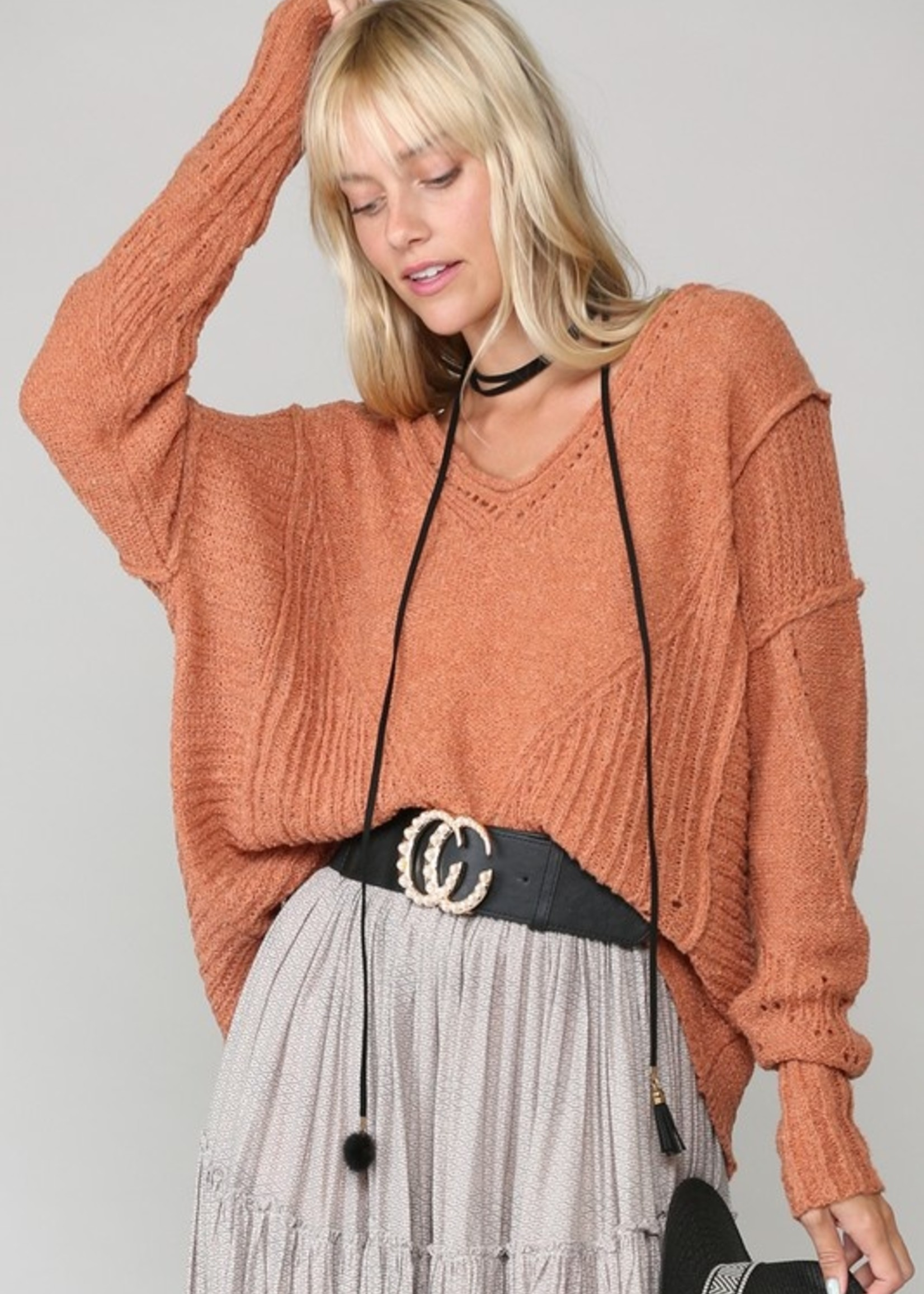Rib accent sweater 2 colors