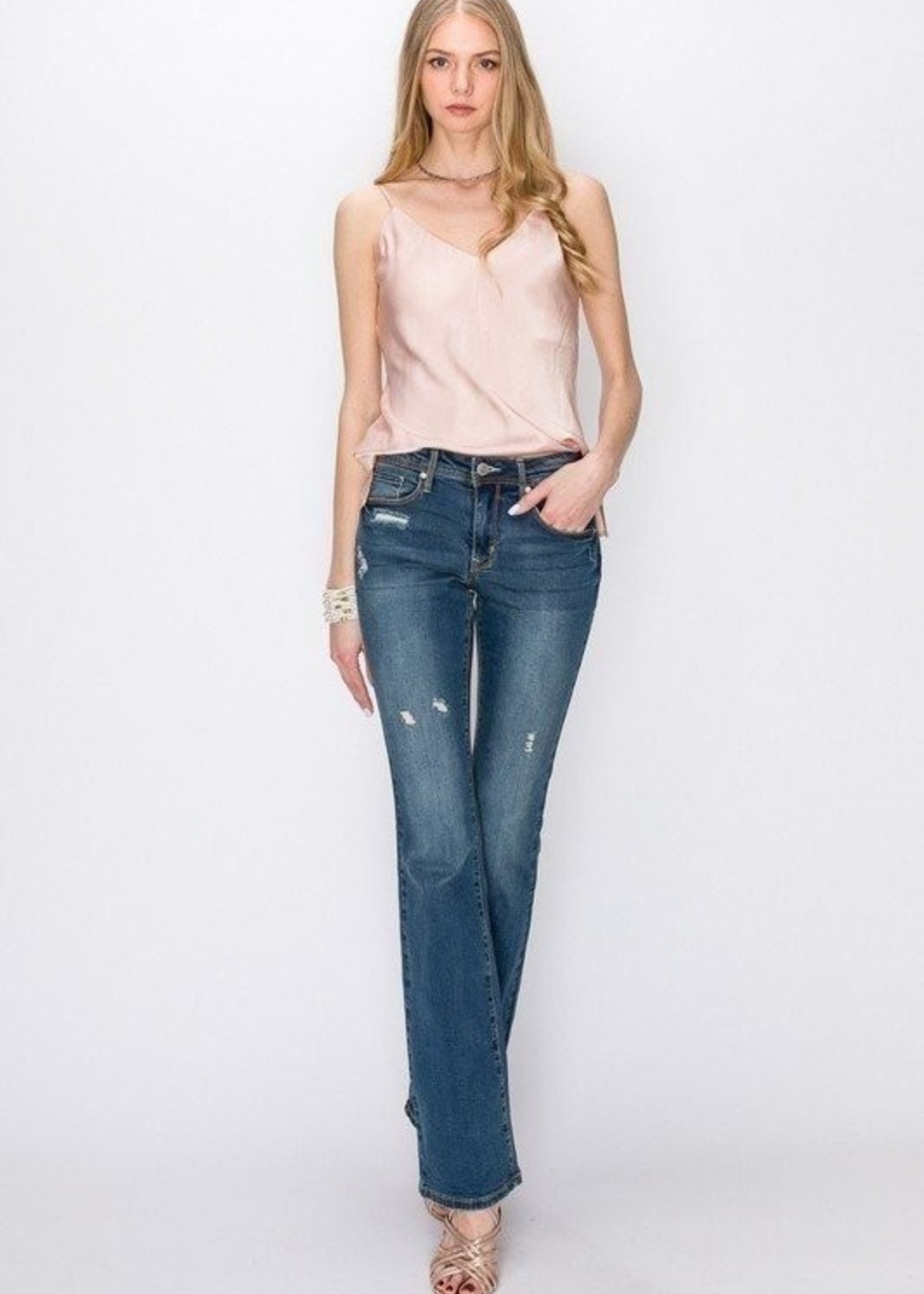 Slightly distressed bootcut jean