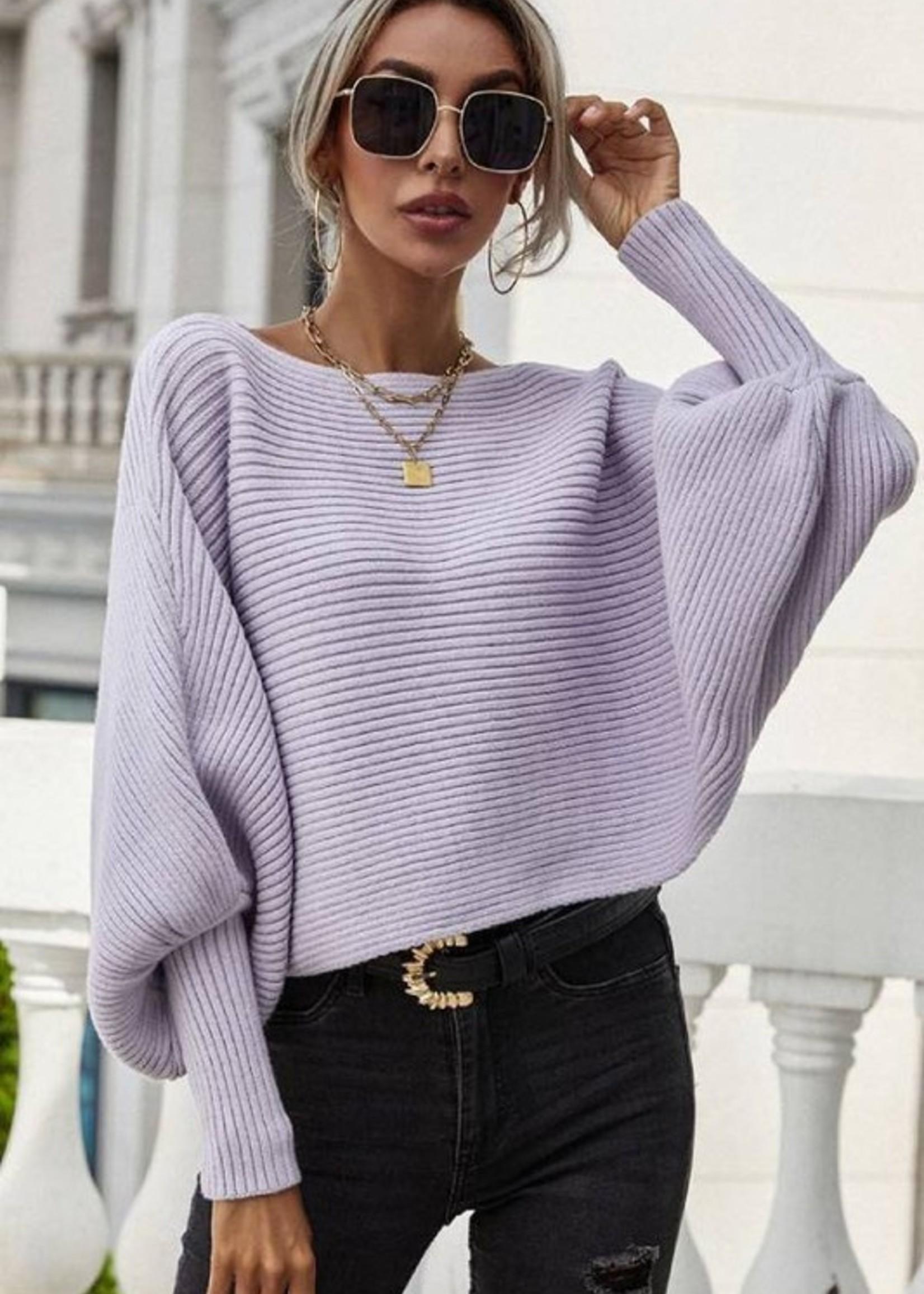 Rib bateau neck sweater