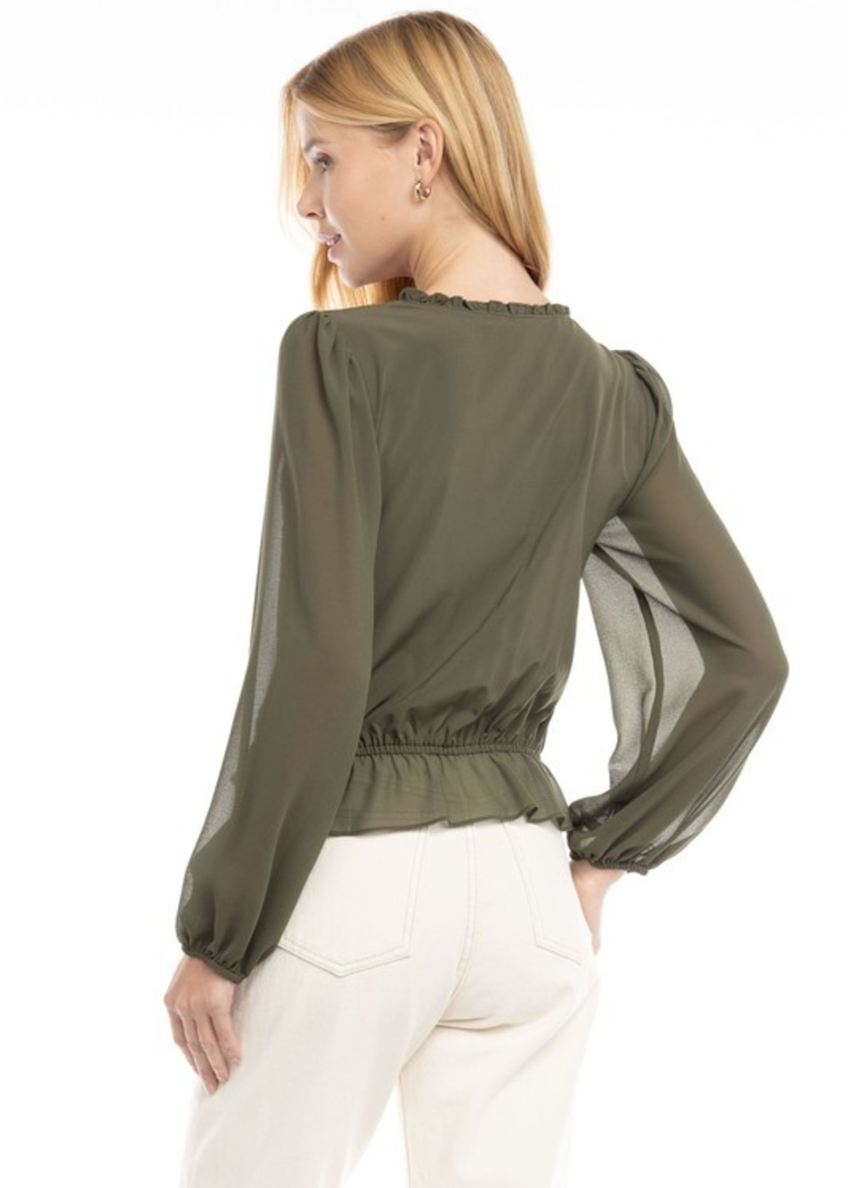 Smocked surplice blouse  3 colors