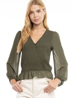 Smocked surplice blouse  +more colors