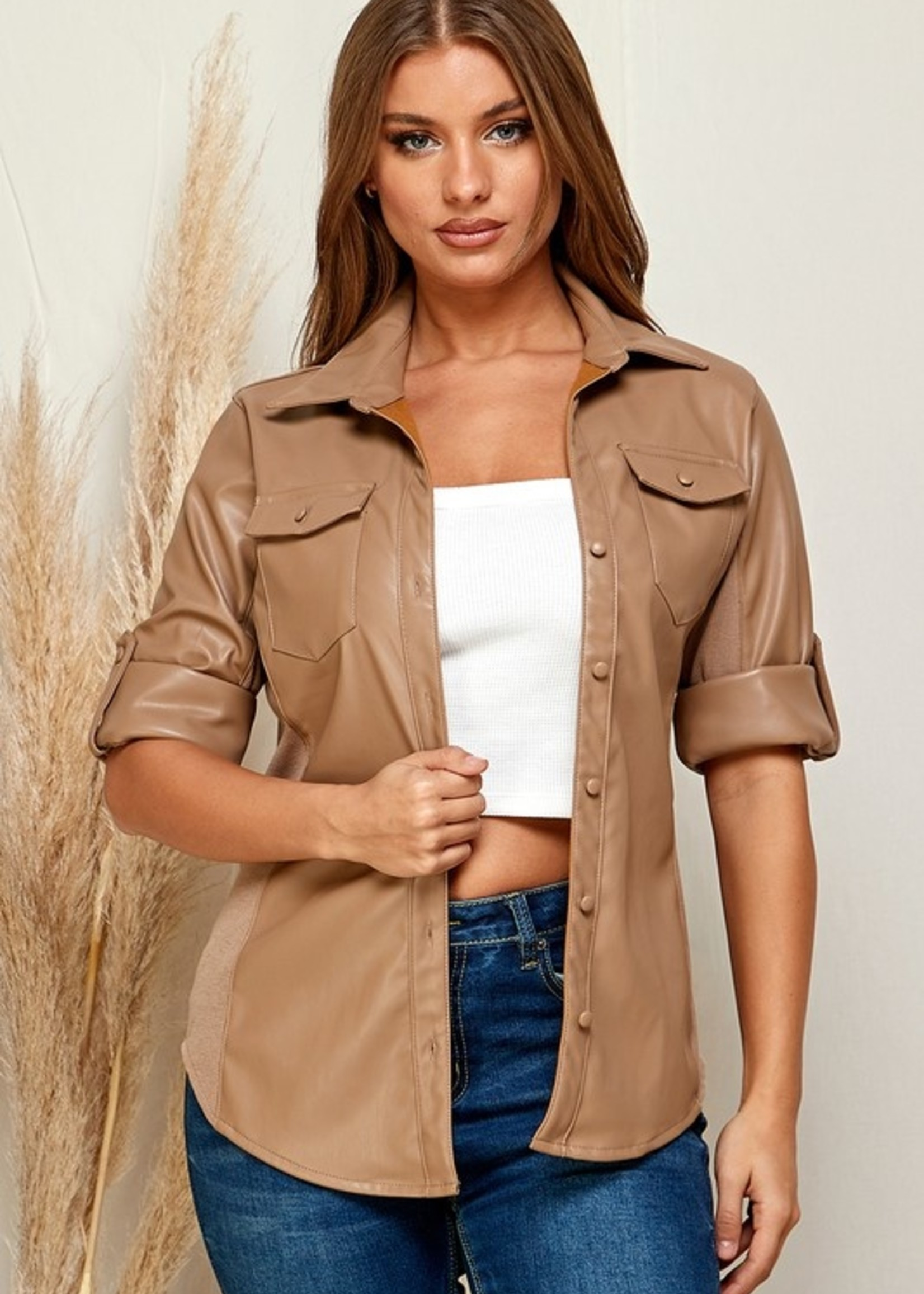 Leather button down