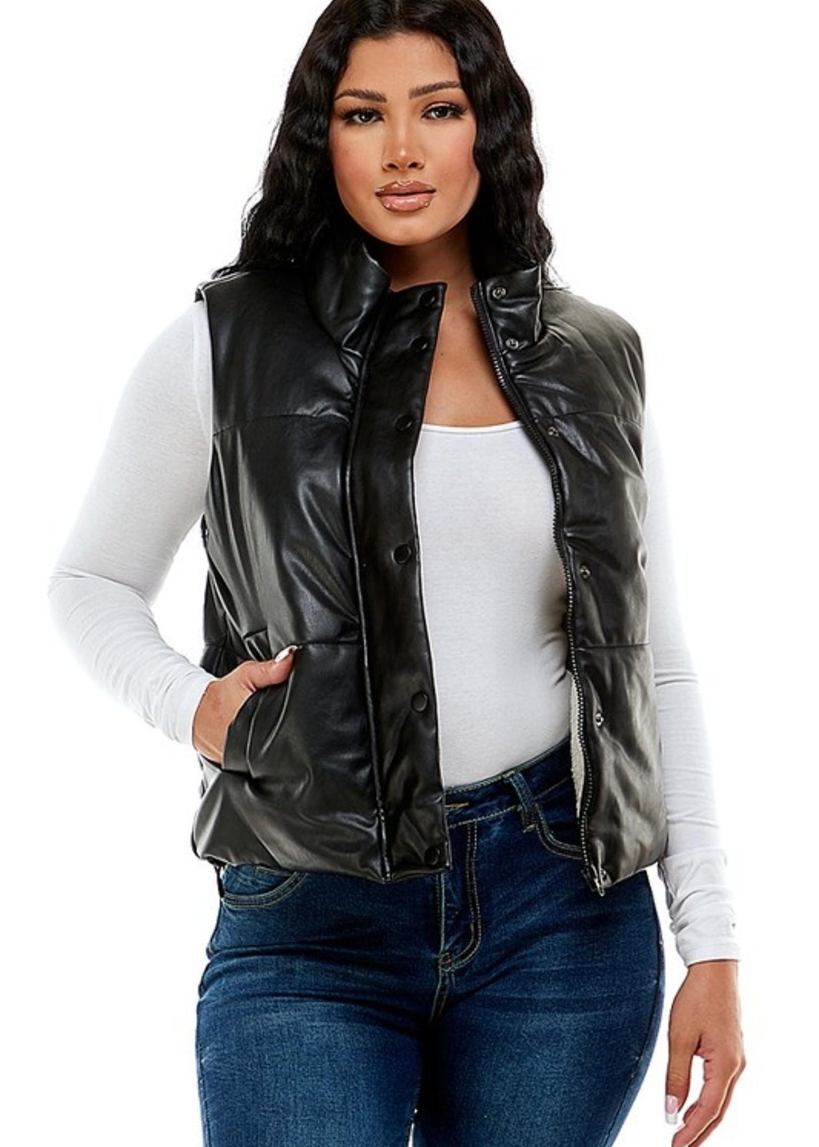 Faux leather vests