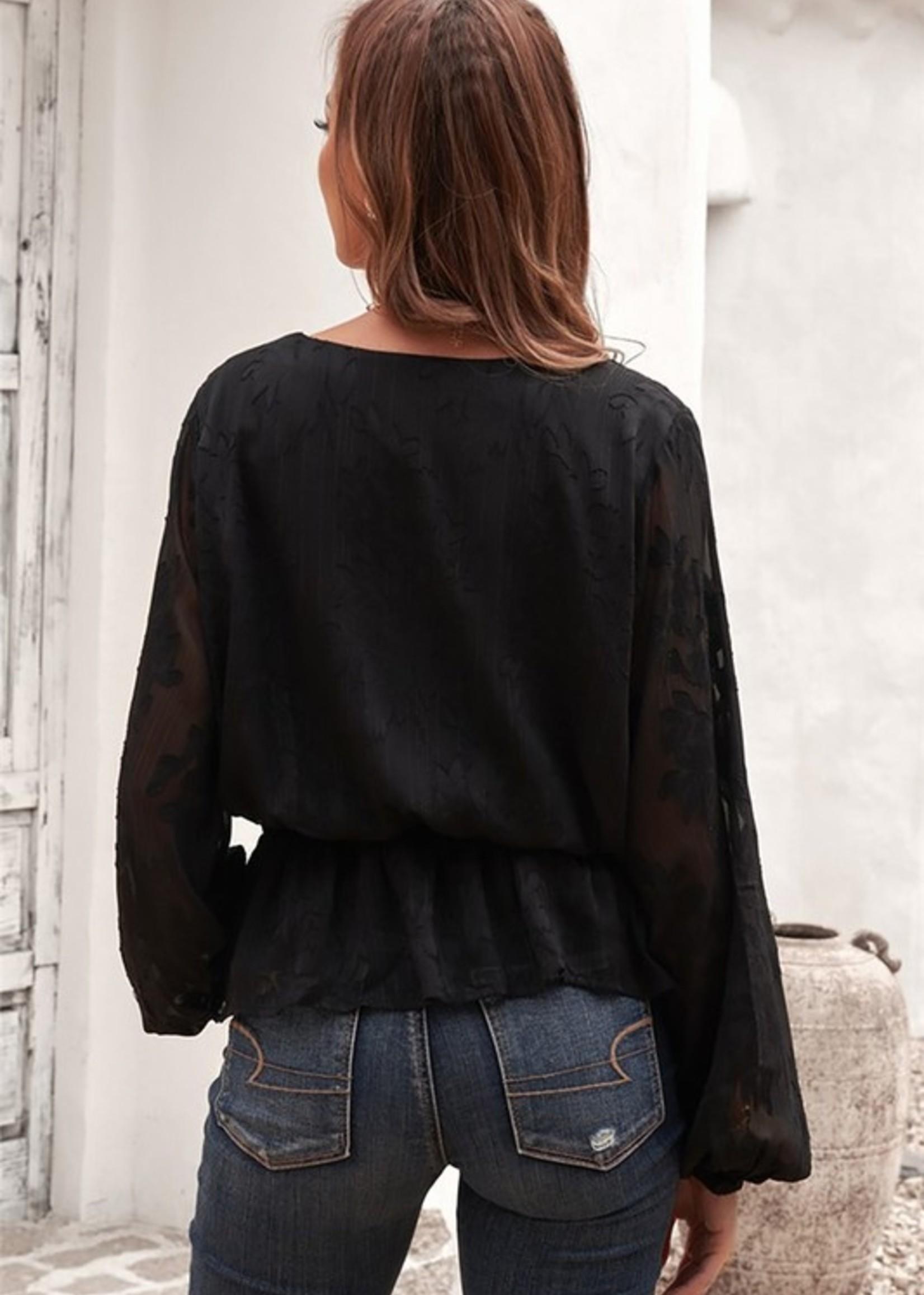 Print peplum blouse