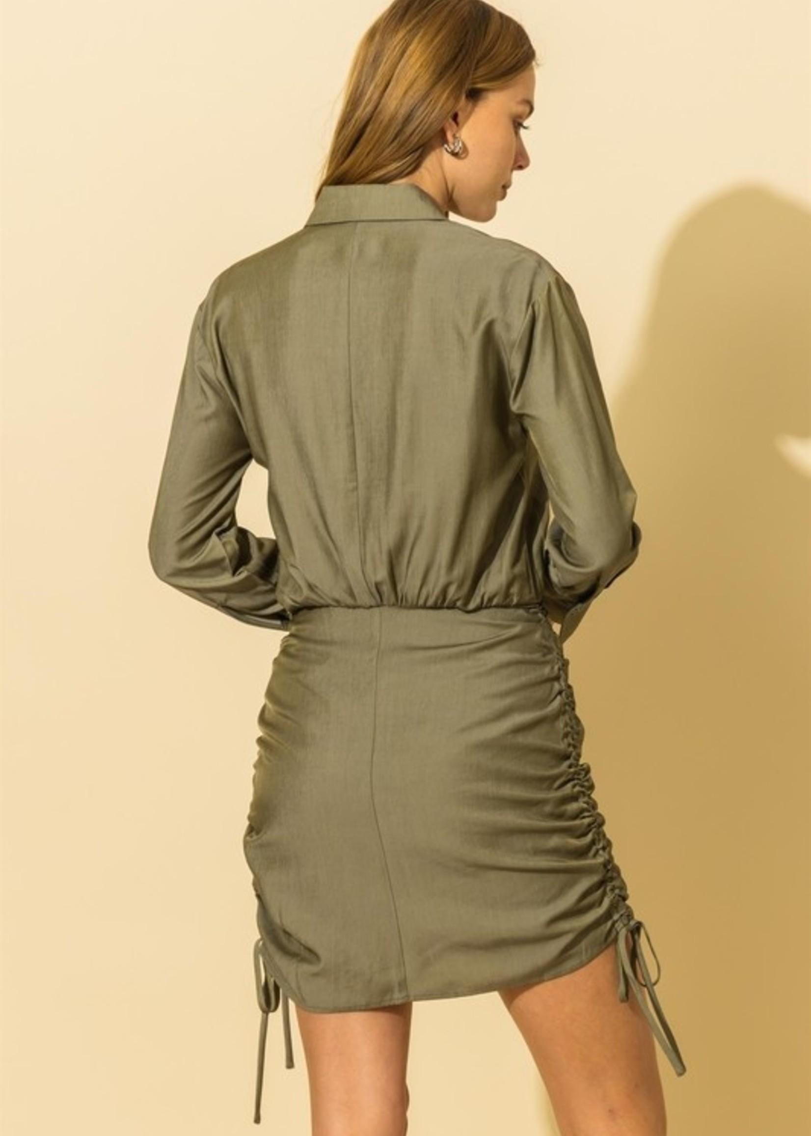 Button front shirt dress