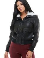 Banded bottom leather jacket