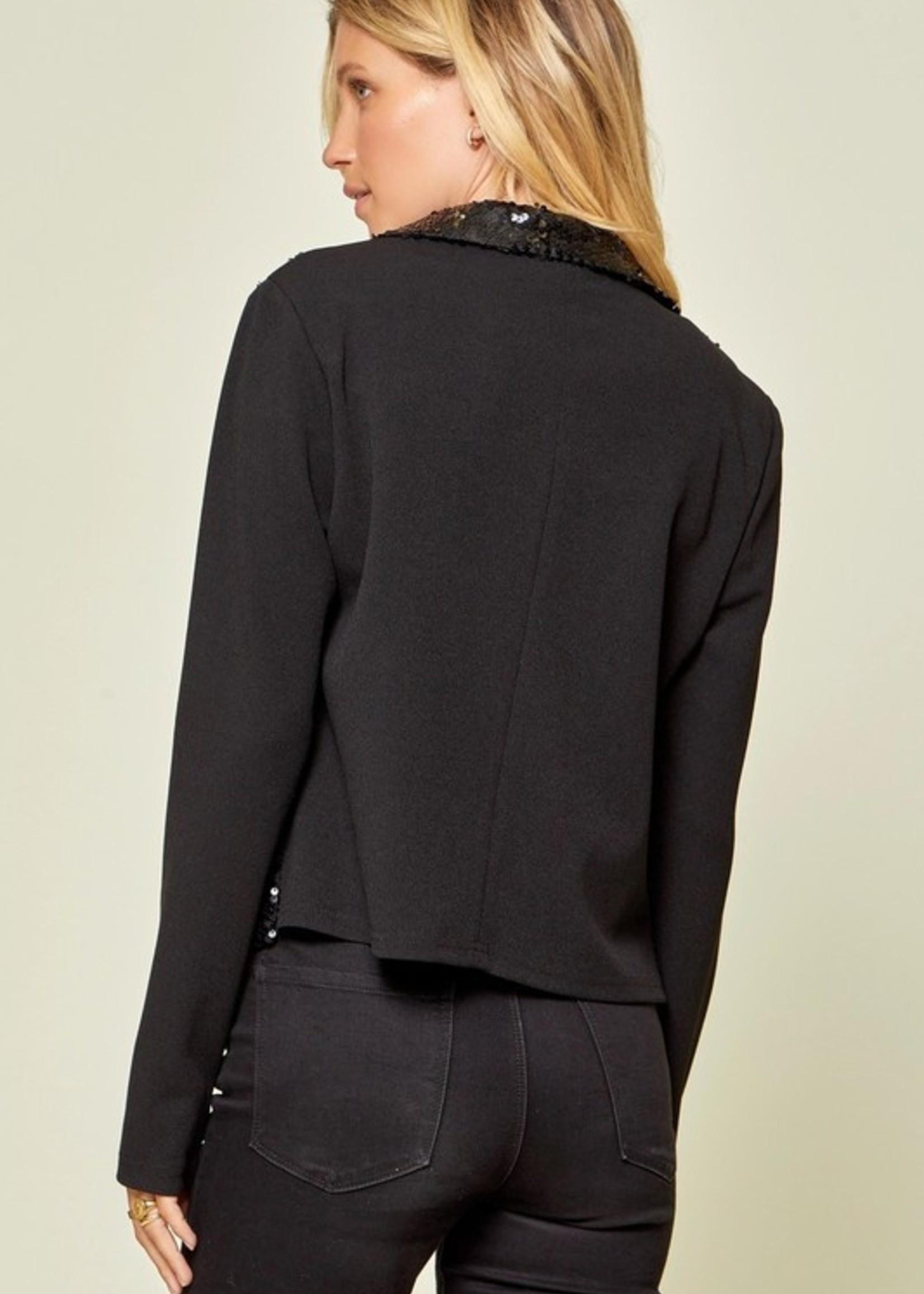 Sequin knit blazer