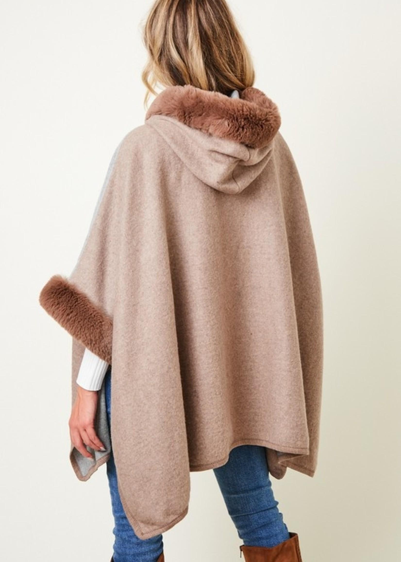 Colorblock fur trim poncho